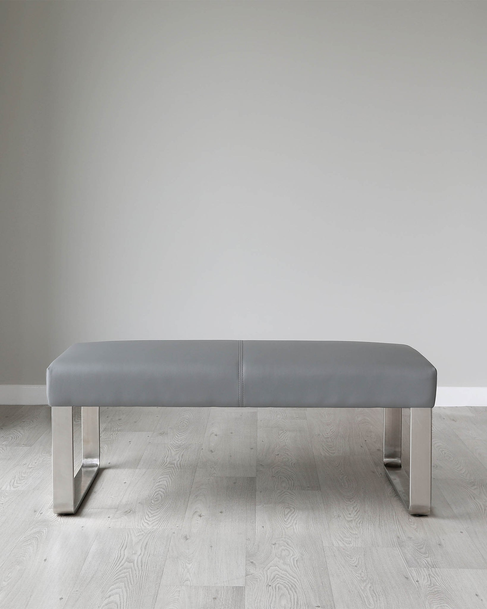 Loop 2 Seater Grey Faux Leather & Stainless Steel Bench Without Backrest