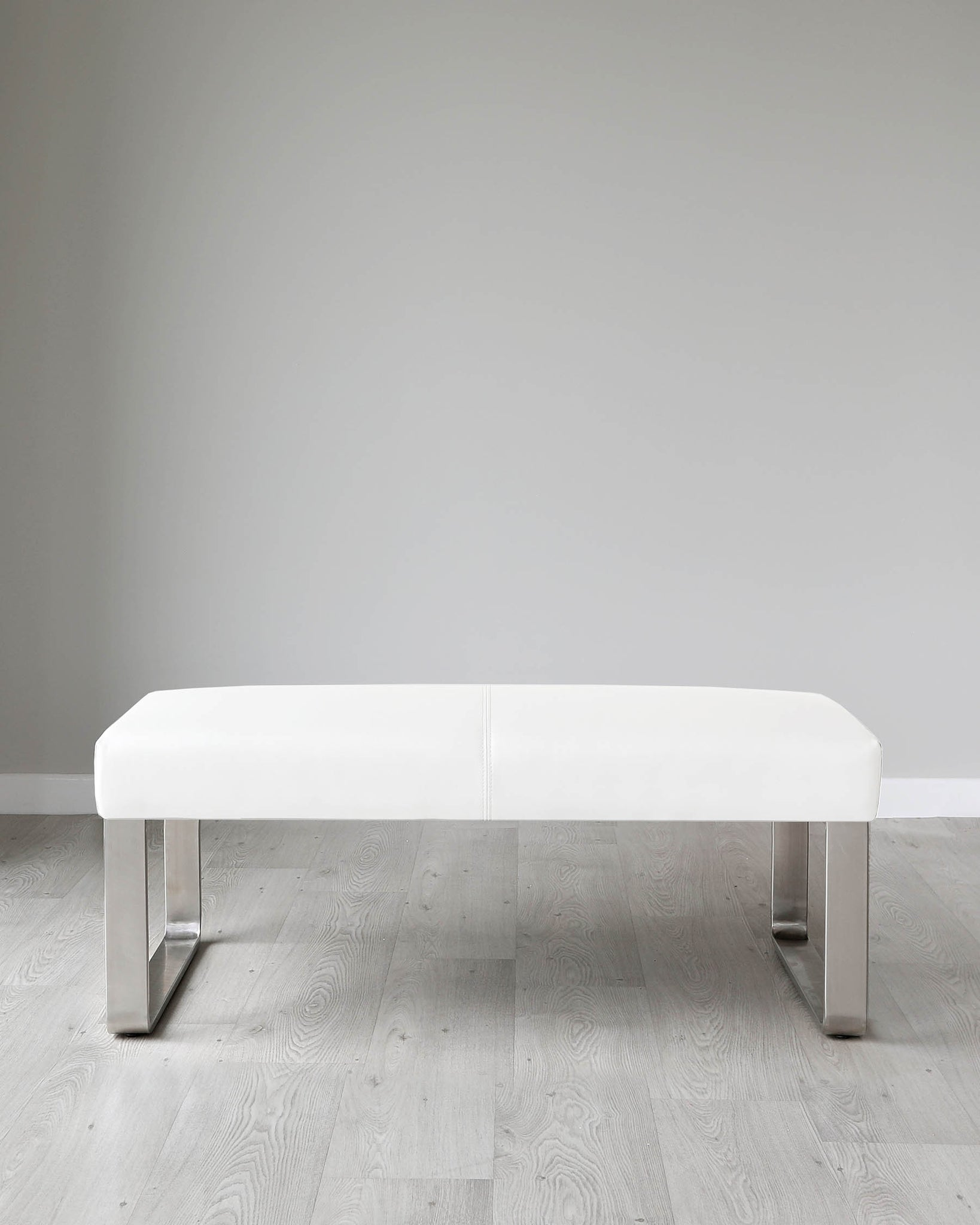 Loop 2 Seater White Faux Leather & Stainless Steel Bench Without Backrest