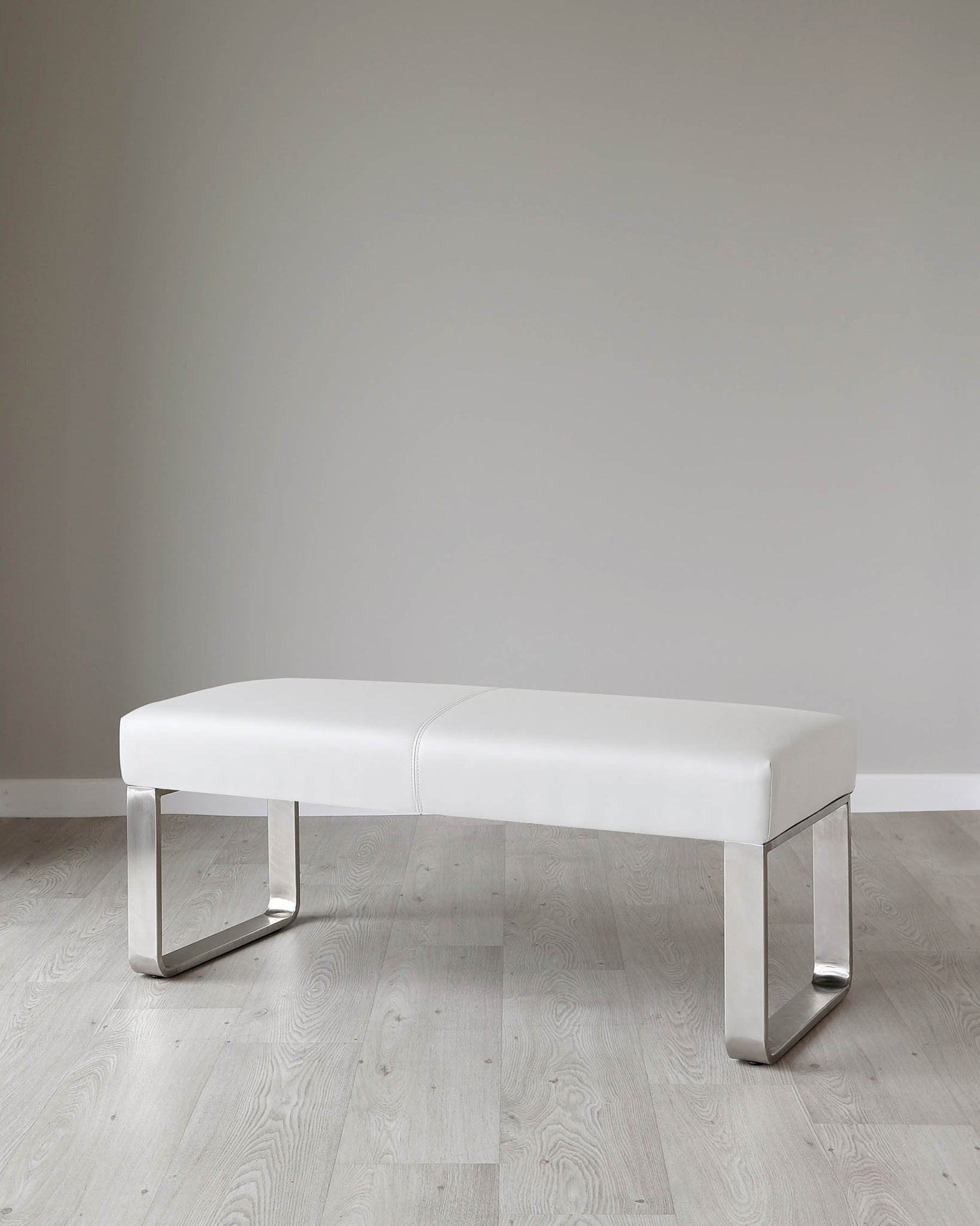 Loop 2 Seater Light Grey Faux Leather & Stainless Steel Bench Without Backrest