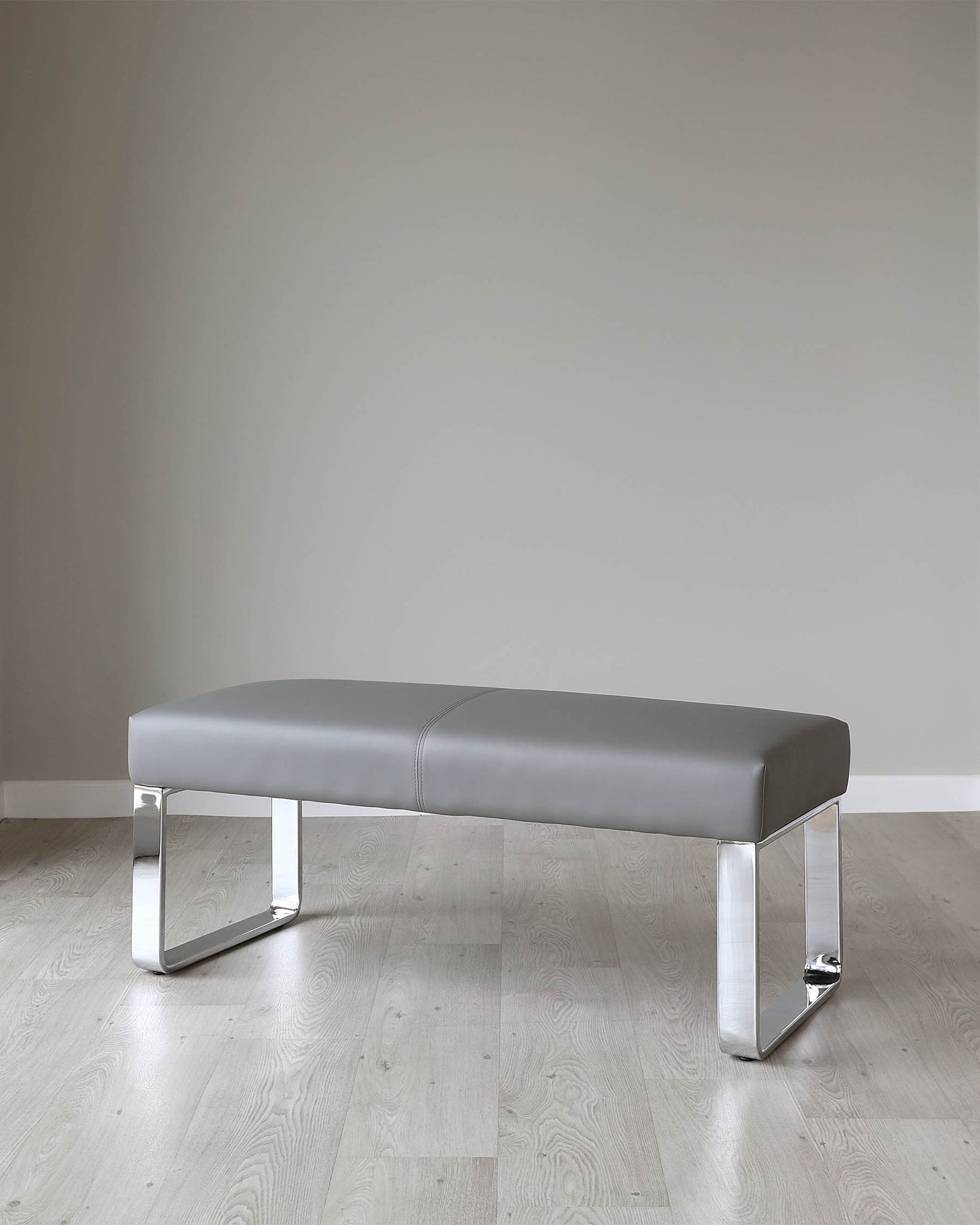 Loop 2 Seater Grey Faux Leather & Chrome Bench Without Backrest
