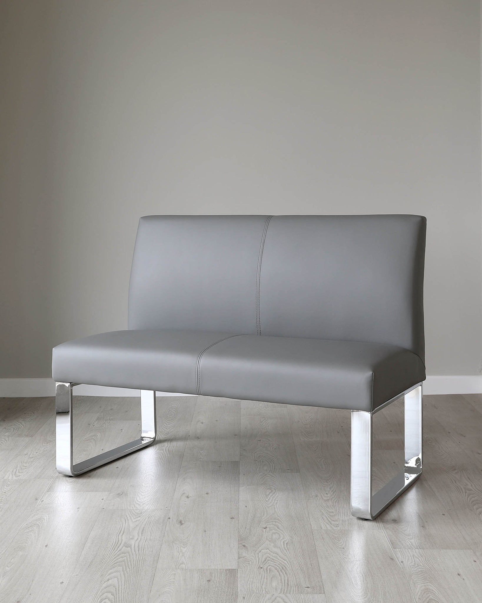 Loop 2 Seater Grey Faux Leather & Chrome Bench With Backrest