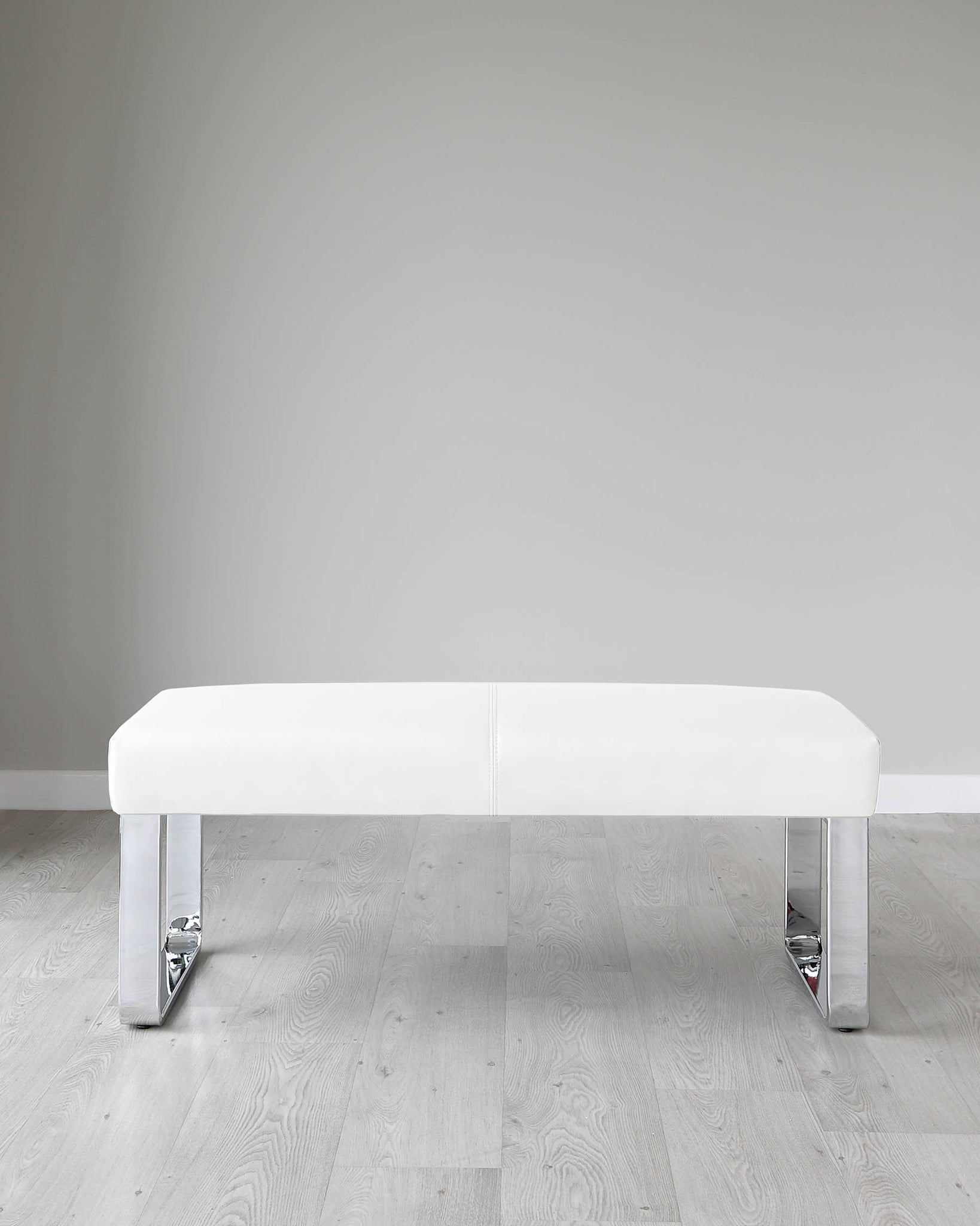 Loop 2 Seater White Faux Leather & Chrome Bench Without Backrest