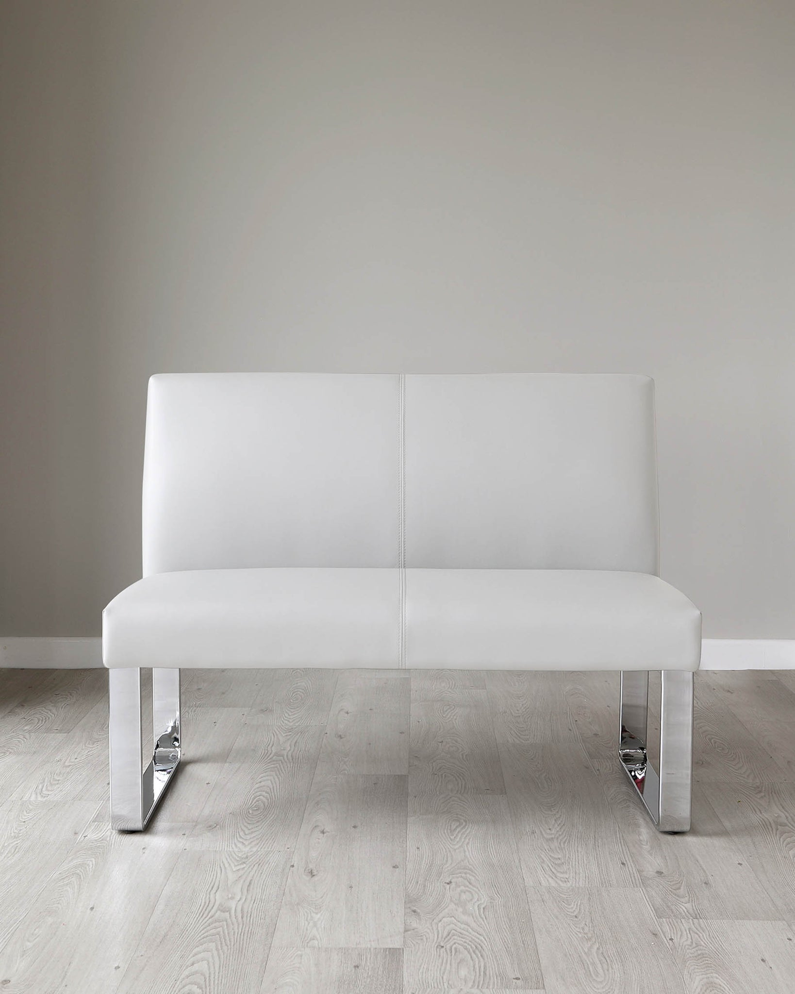 Loop 2 Seater Light Grey Faux Leather & Chrome Bench With Backrest