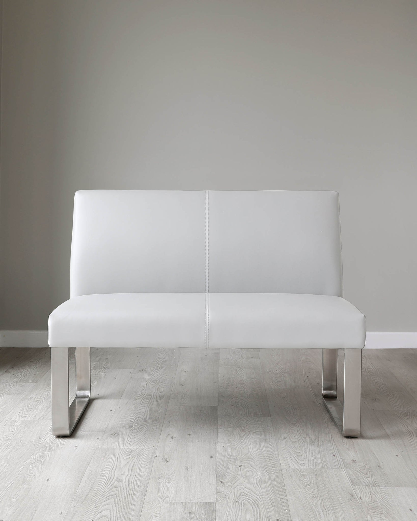 Loop 2 Seater Light Grey Faux Leather & Stainless Steel Bench With Backrest
