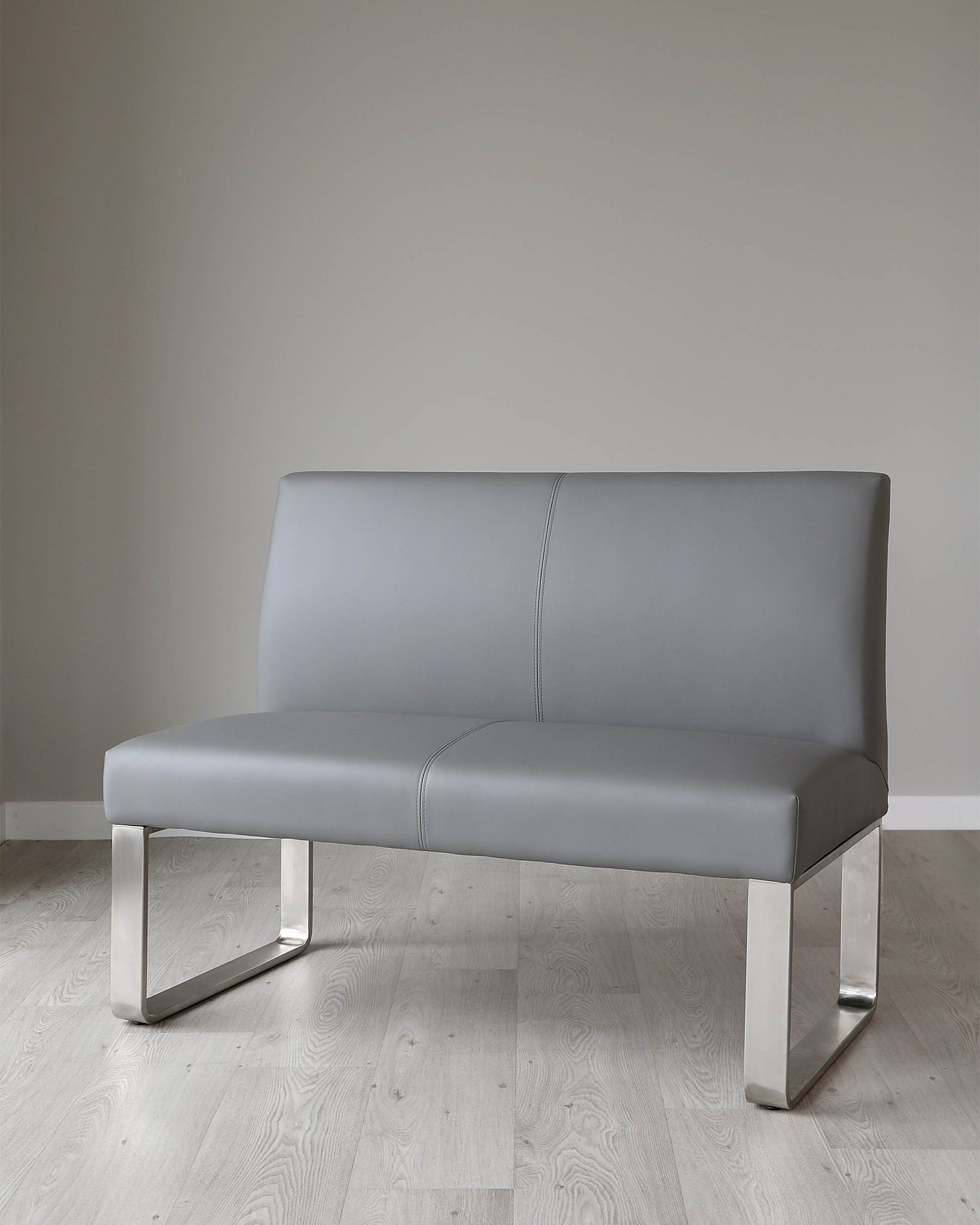 Loop 2 Seater Grey Faux Leather & Stainless Steel Bench With Backrest