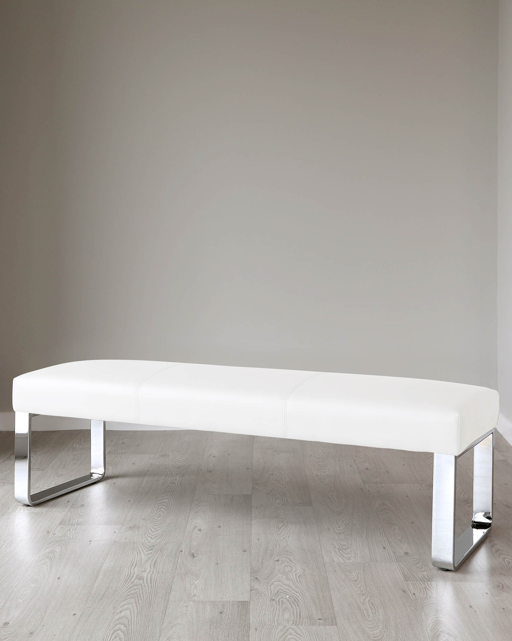 Loop 3 Seater White Faux Leather & Chrome Bench Without Backrest