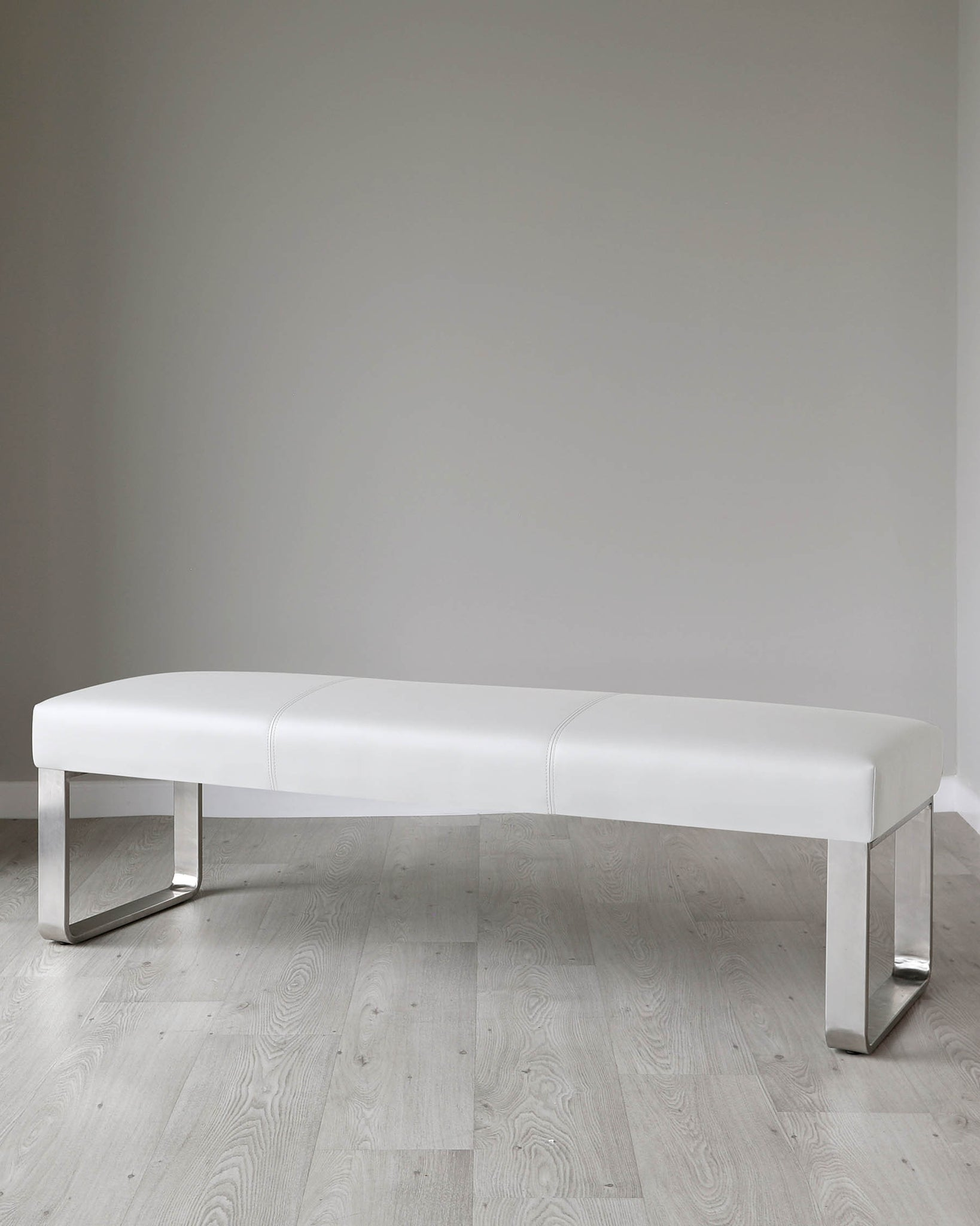 Loop 3 Seater Light Grey Faux Leather & Stainless Steel Bench Without Backrest