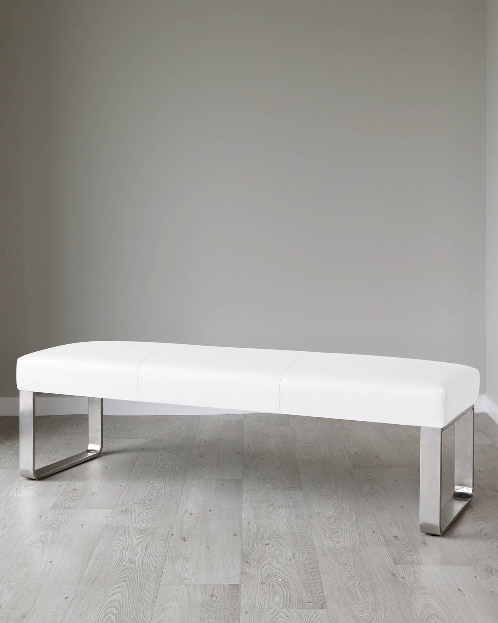 Loop 3 Seater White Faux Leather & Stainless Steel Bench Without Backrest