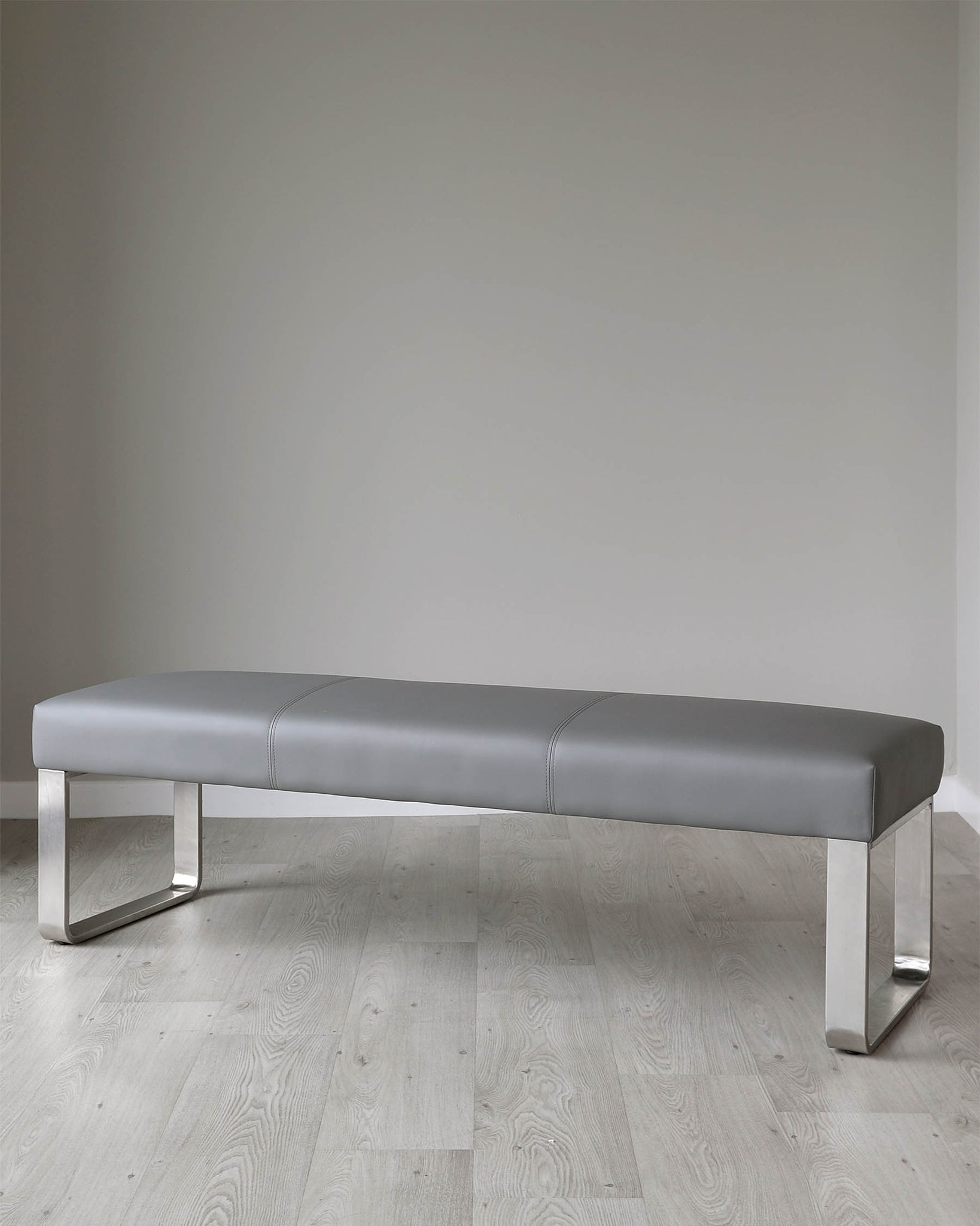 Loop 3 Seater Grey Faux Leather & Stainless Steel Bench Without Backrest