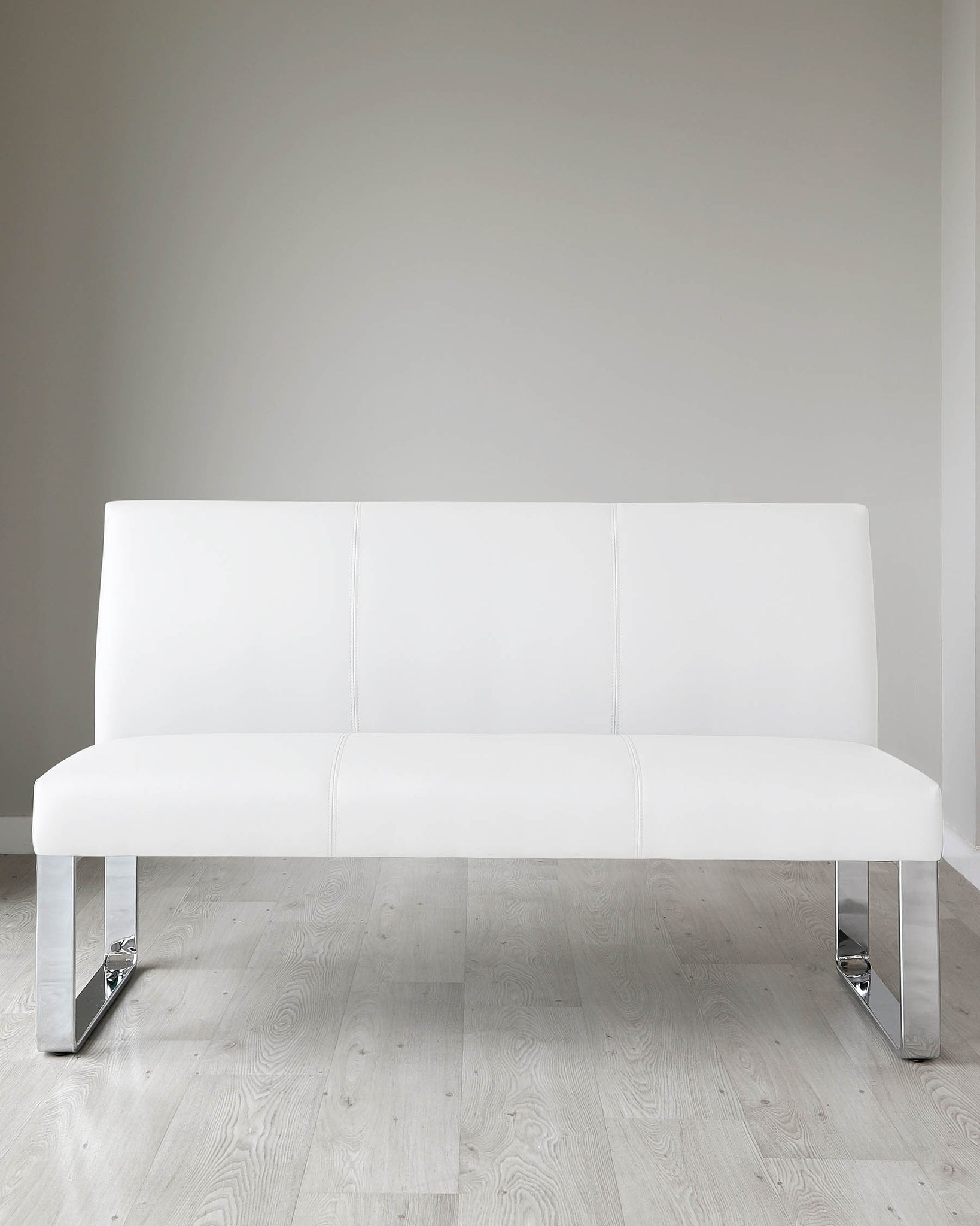 Loop 3 Seater White Faux Leather & Chrome Bench With Backrest