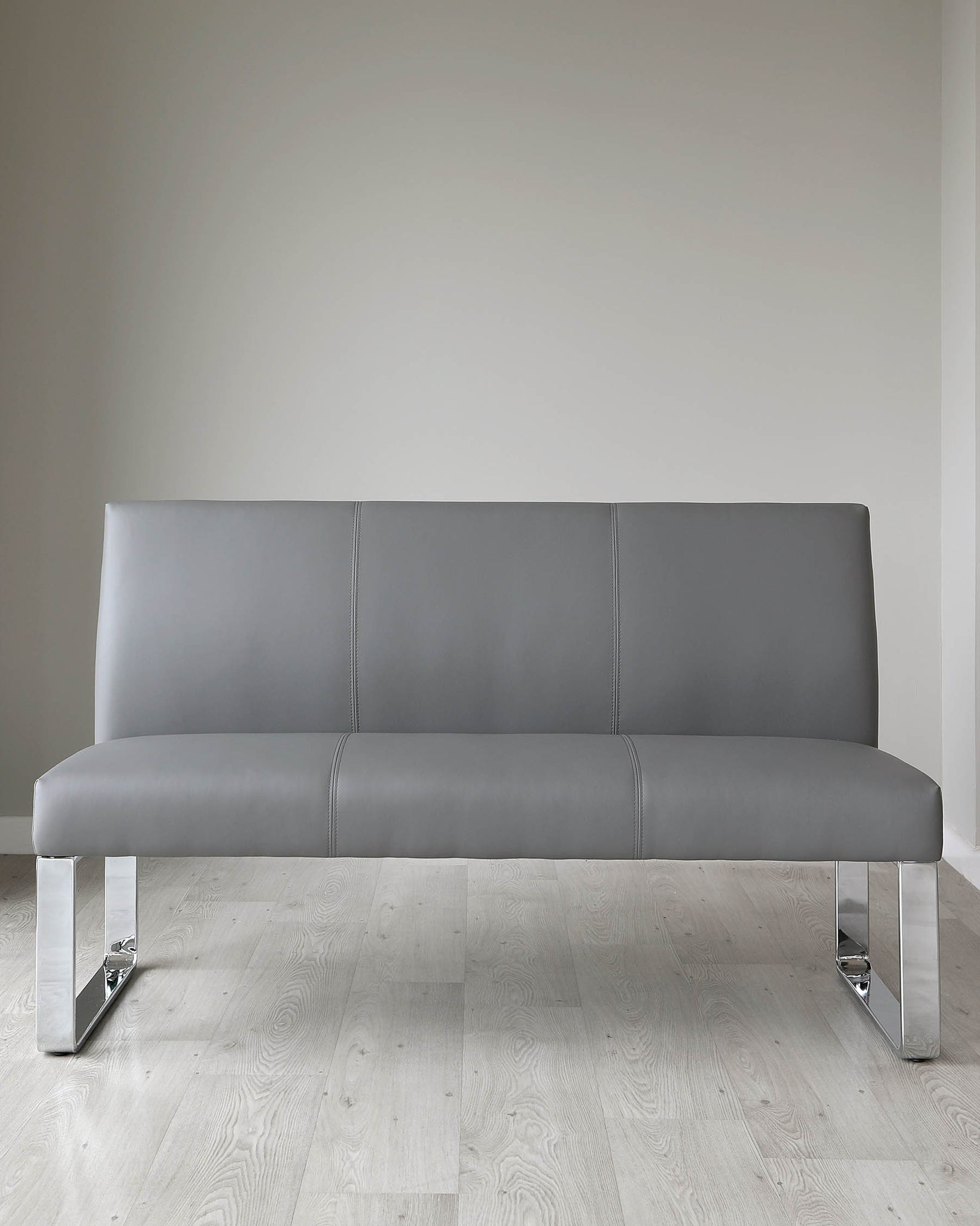 Loop 3 Seater Grey Faux Leather & Chrome Bench With Backrest