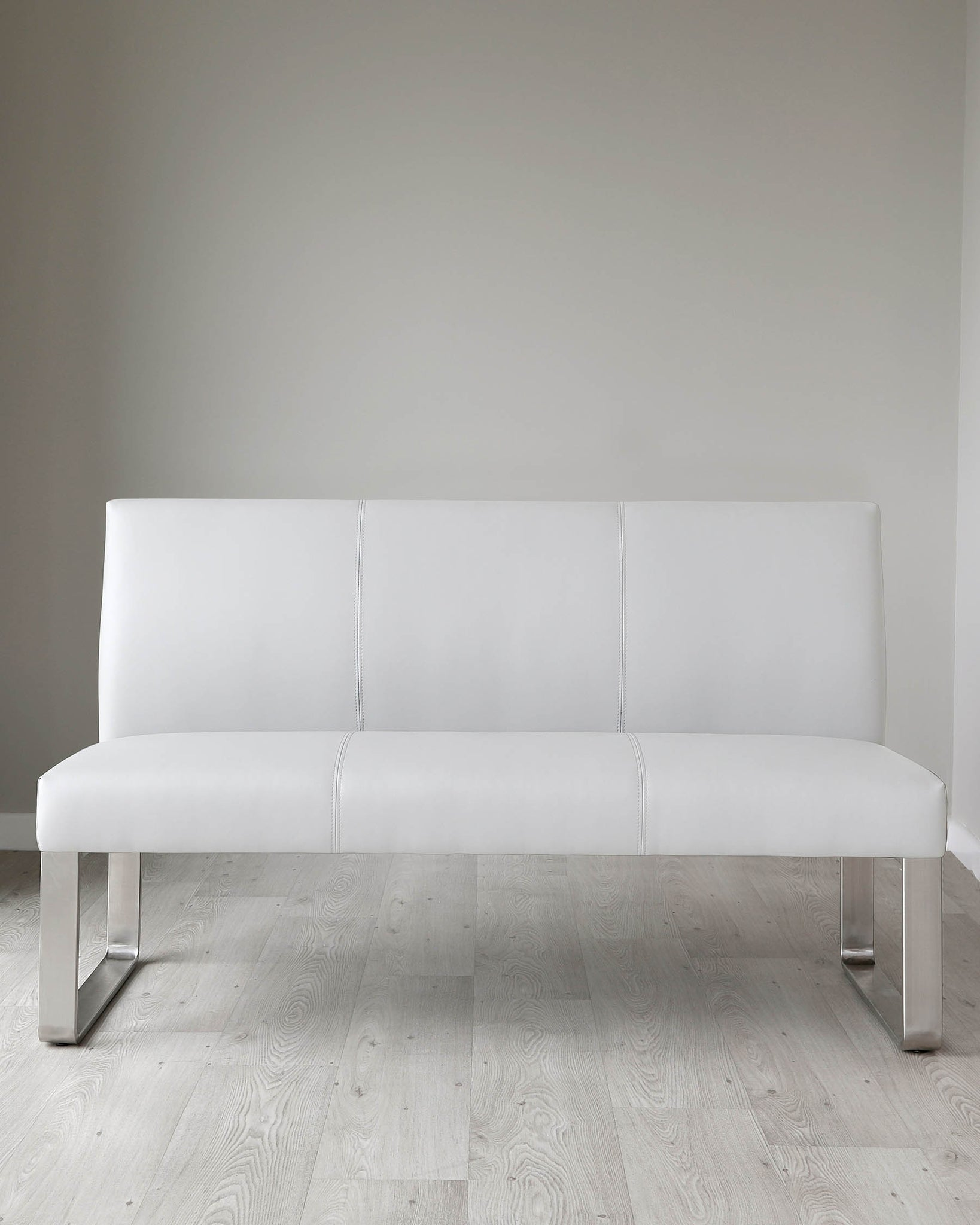 Loop 3 Seater Light Grey Faux Leather & Stainless Steel Bench With Backrest
