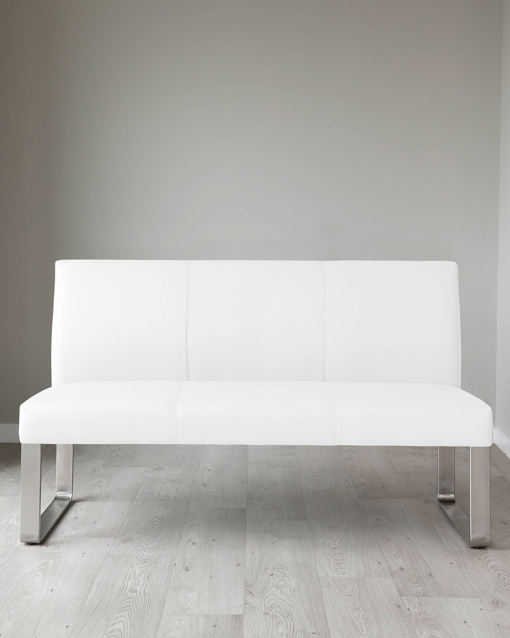 Loop 3 Seater White Faux Leather & Stainless Steel Bench With Backrest