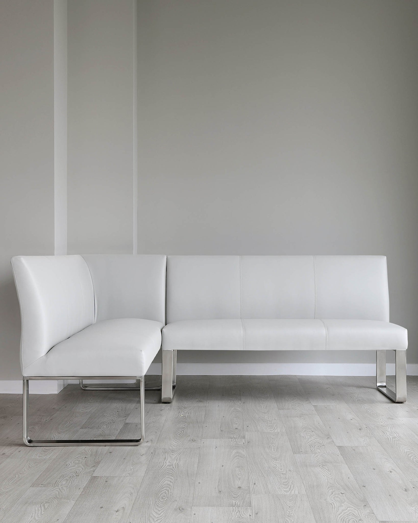 Loop 5 Seater Light Grey Faux Leather & Stainless Steel Right Hand Corner Bench