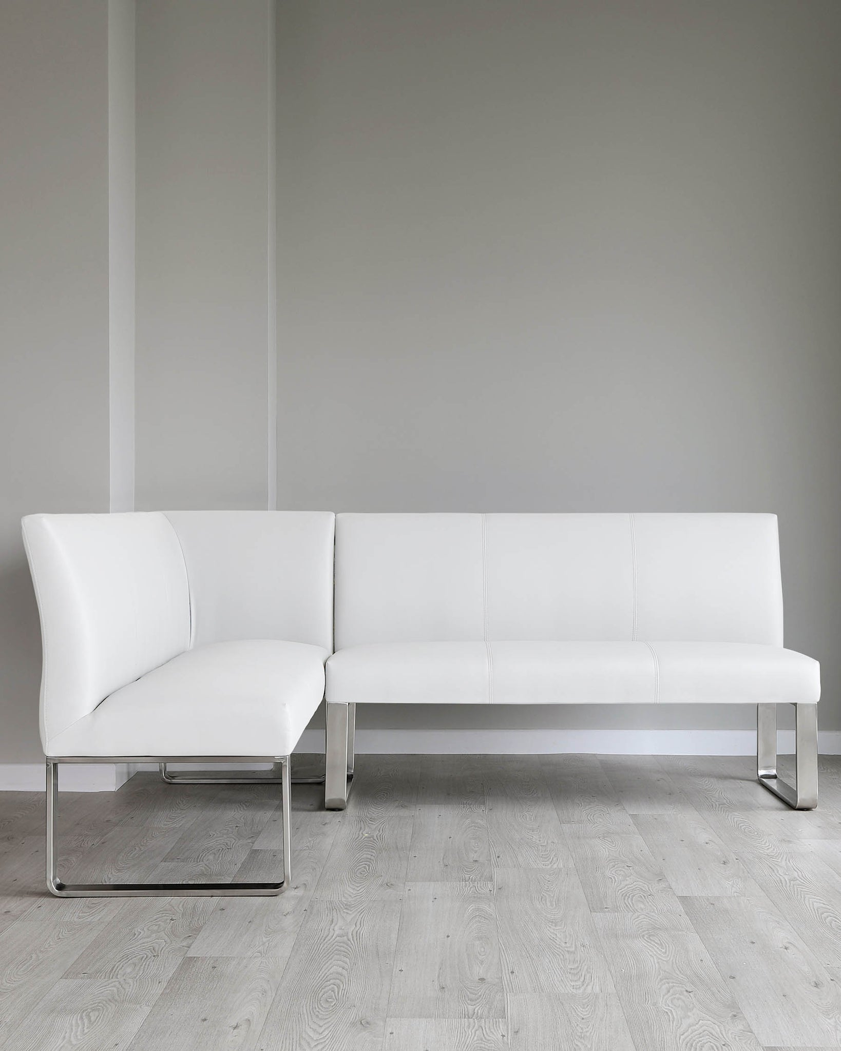 Loop 5 Seater White Faux Leather & Stainless Steel Right Hand Corner Bench