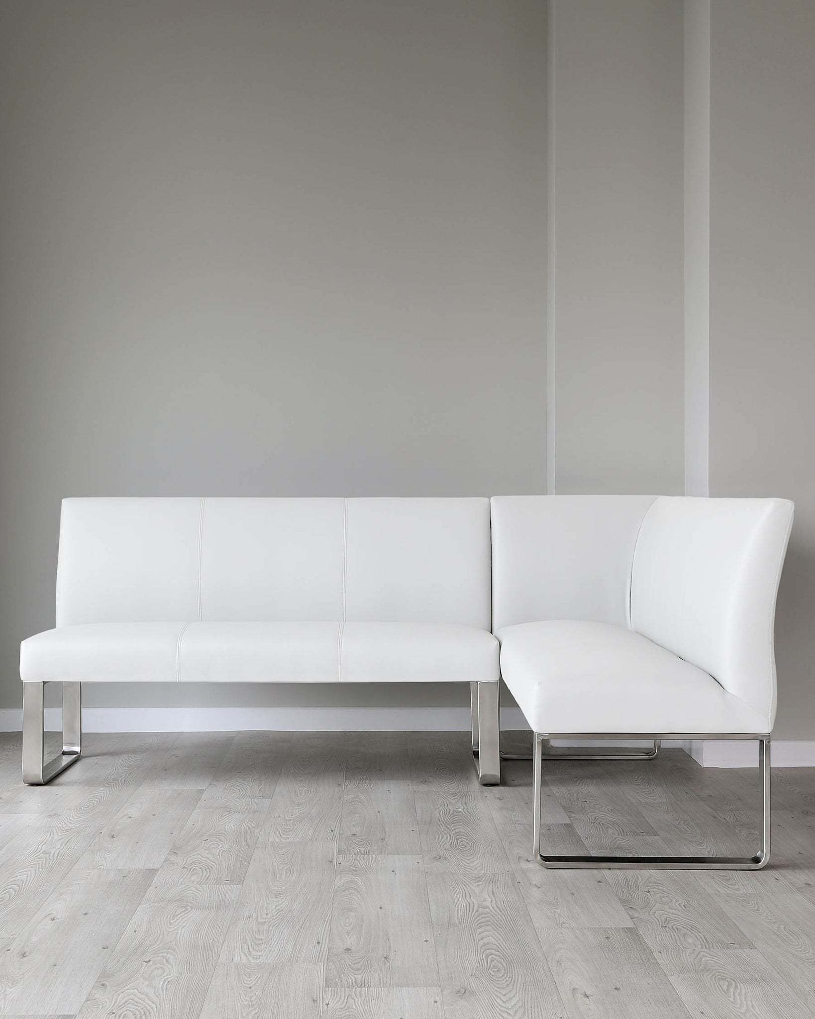 Sanza White Gloss And Loop 5 Seater Left Hand Corner Bench Dining Set