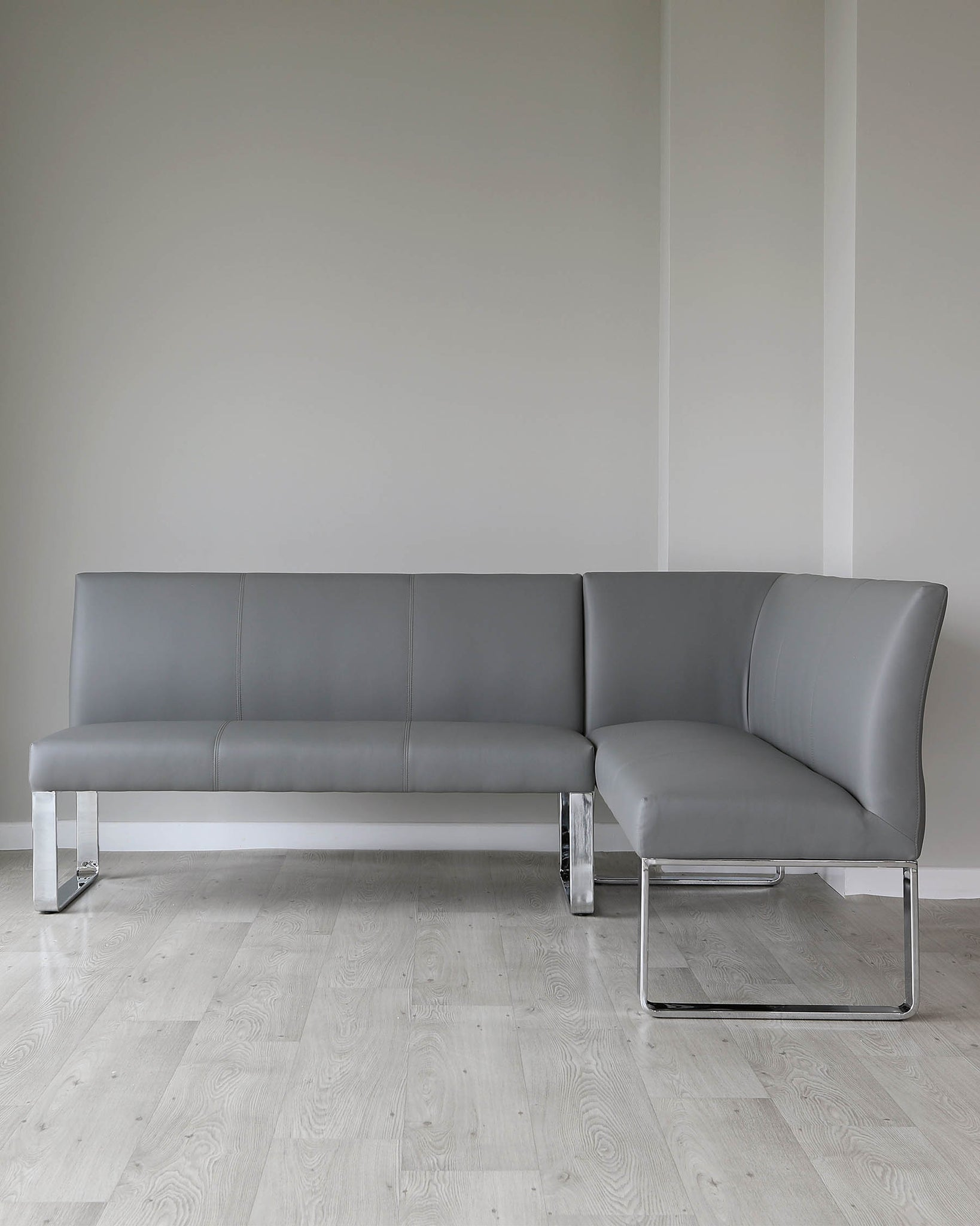 Loop 5 Seater Grey Faux Leather & Chrome Left Hand Corner Bench