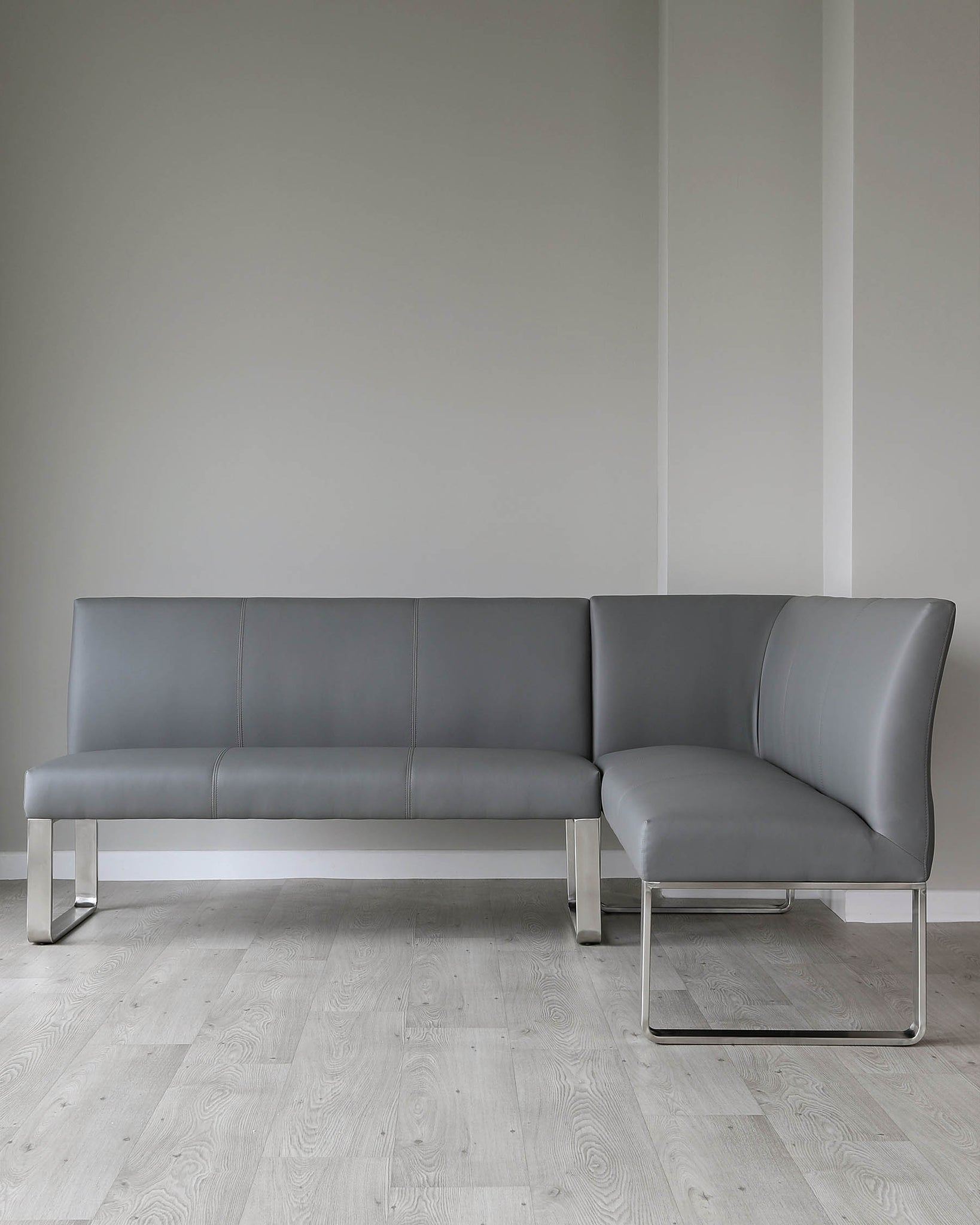 Loop 5 Seater Grey Faux Leather & Stainless Steel Left Hand Corner Bench