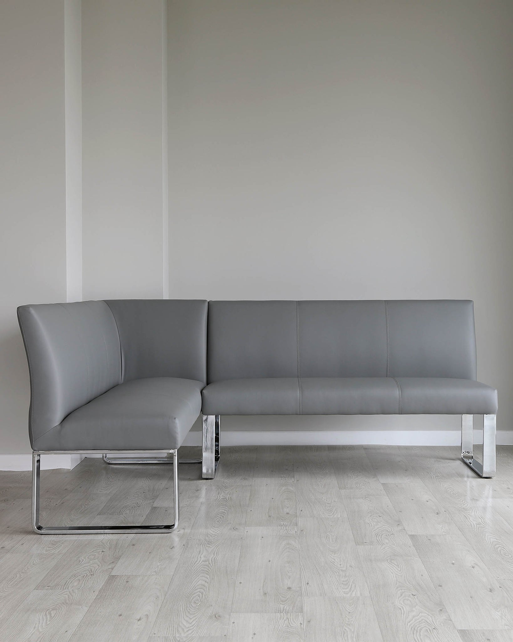 Loop 5 Seater Grey Faux Leather & Chrome Right Hand Corner Bench