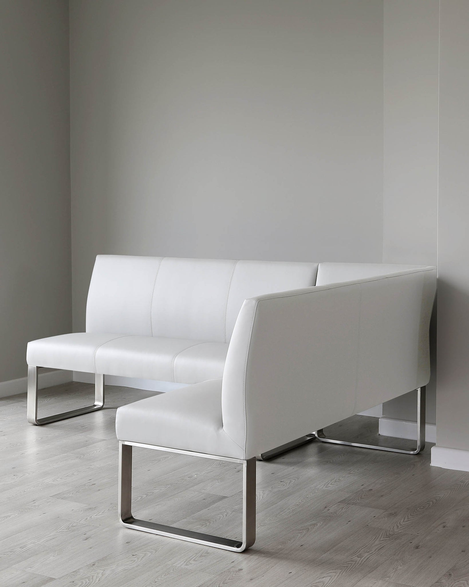 Loop 5 Seater Light Grey Faux Leather & Stainless Steel Left Hand Corner Bench