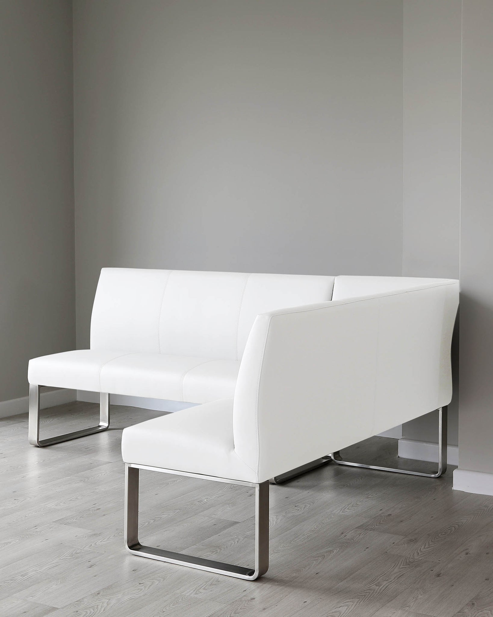 Loop 5 Seater White Faux Leather & Stainless Steel Left Hand Corner Bench