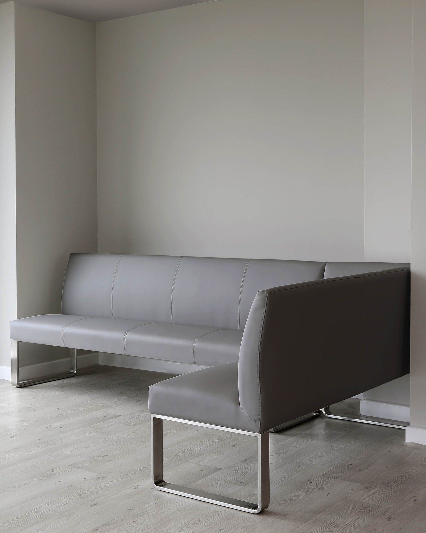 Loop 7 Seater Grey Faux Leather & Stainless Steel Left Hand Corner Bench