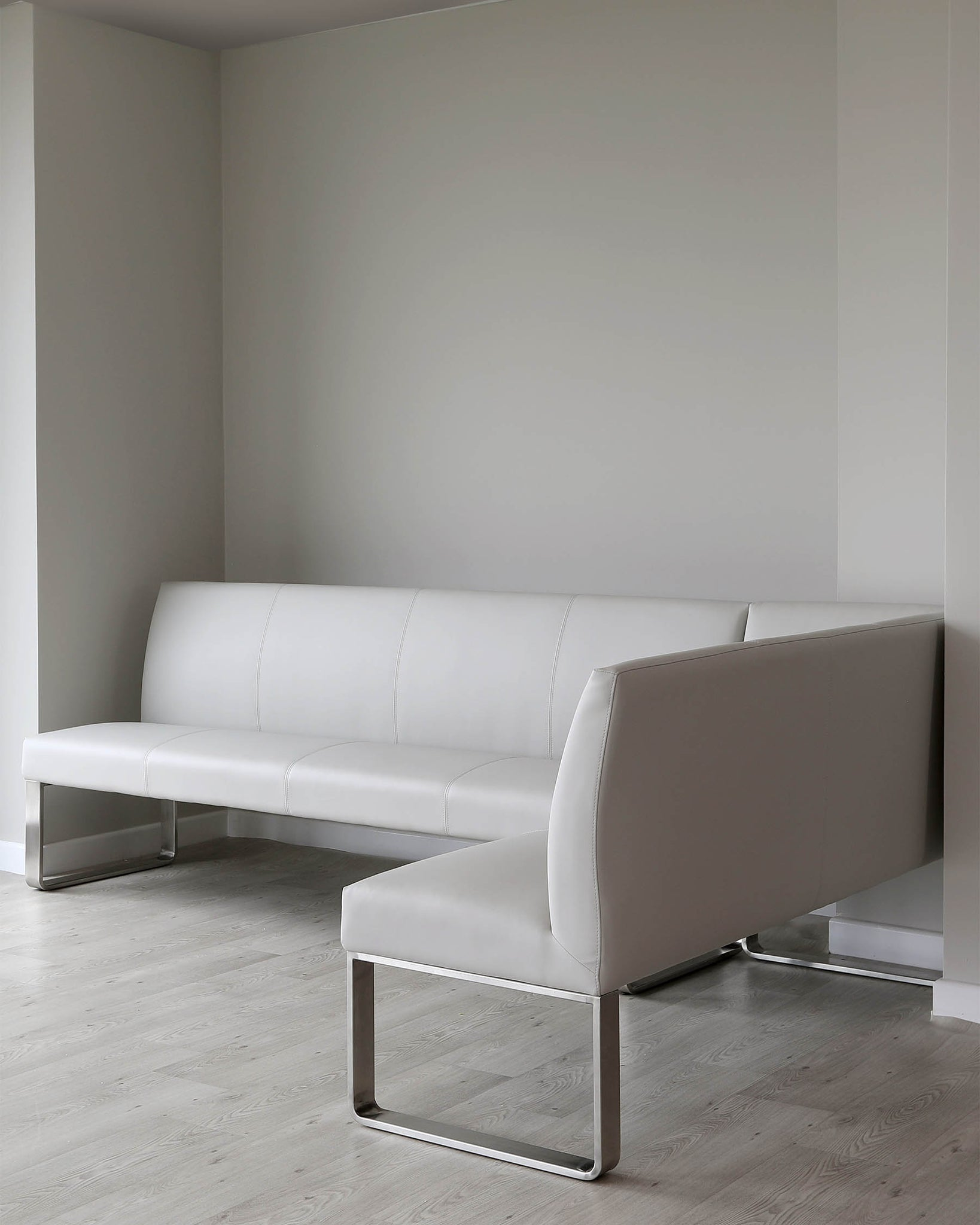 Loop 7 Seater Light Grey Faux Leather & Stainless Steel Left Hand Corner Bench