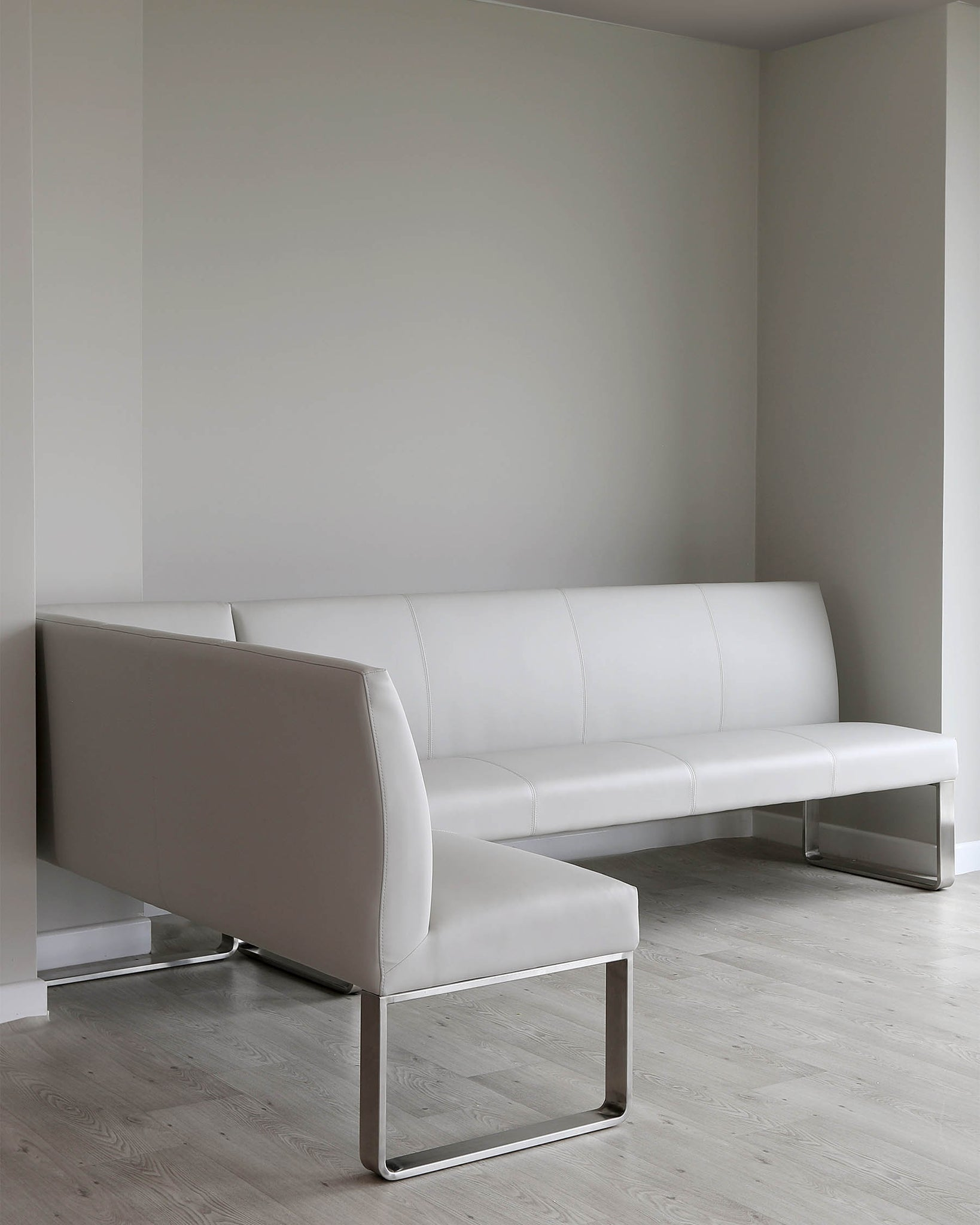 Loop 7 Seater Light Grey Faux Leather & Stainless Steel Right Hand Corner Bench