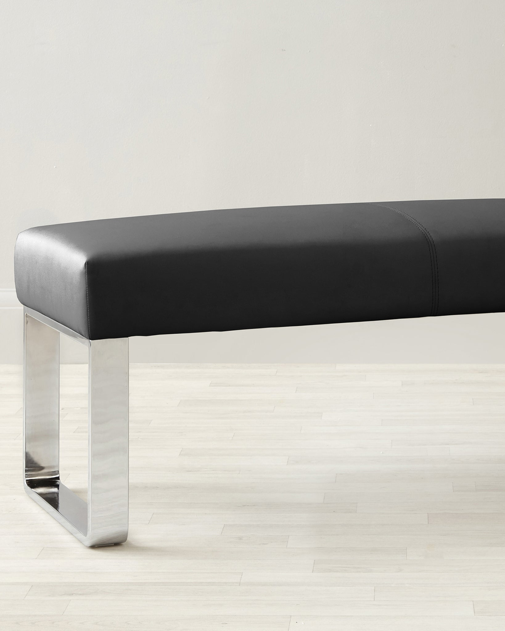 Loop 3 Seater Black Faux Leather & Chrome Bench Without Backrest