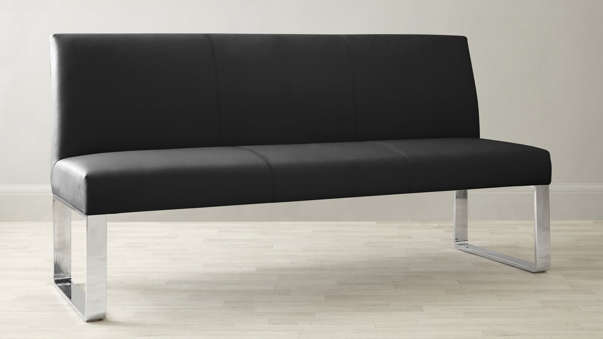 Loop 3 Seater Black Faux Leather & Stainless Steel Bench Without Backrest