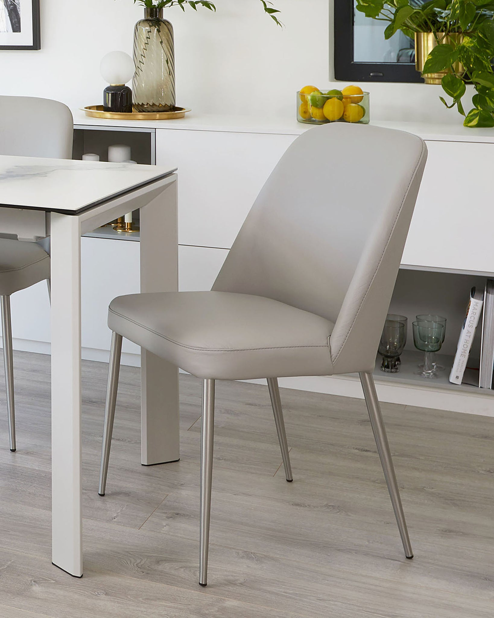 Deco Light Grey Real Leather Dining Chair - Set Of 2