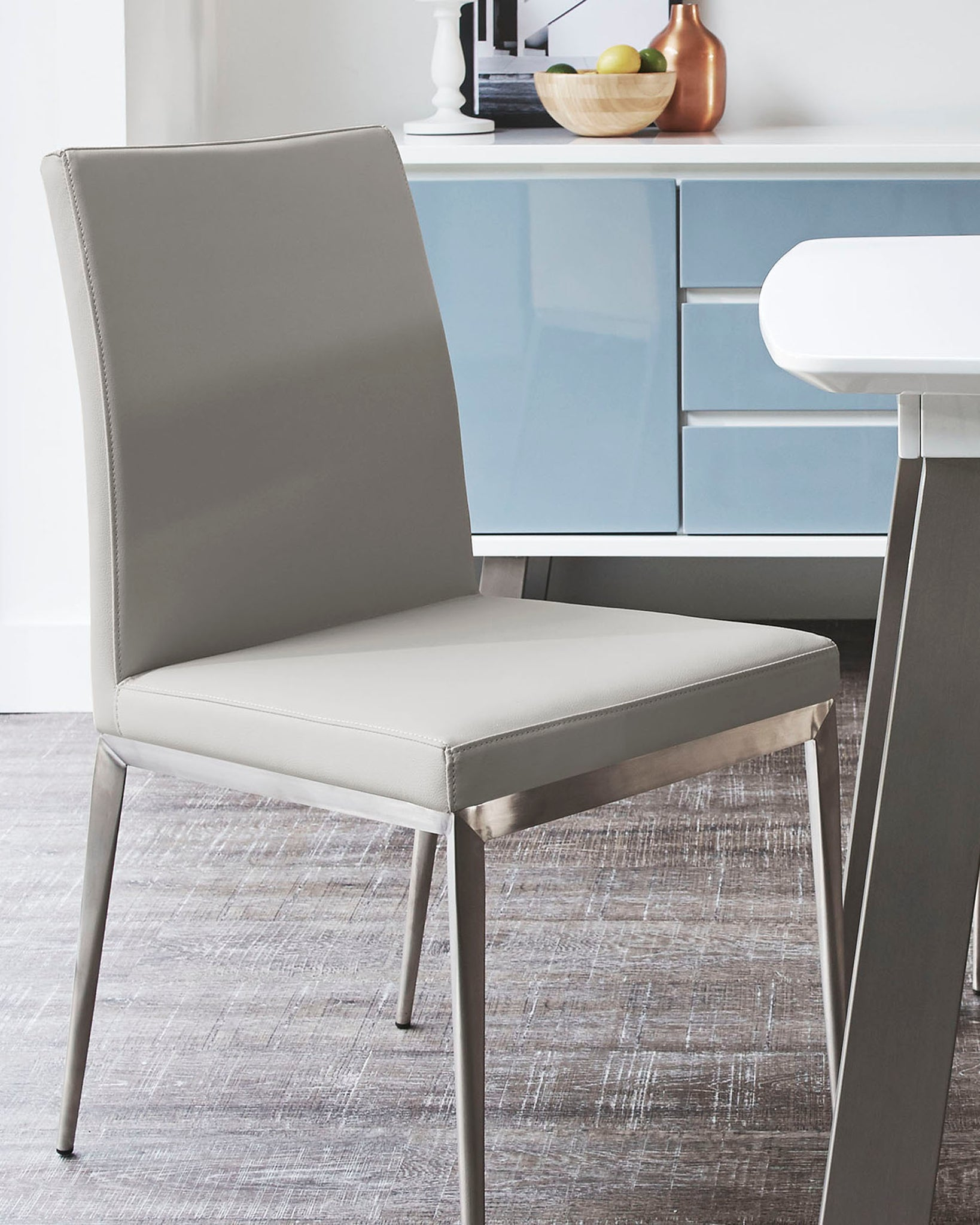 Lucia Light Grey & Brushed Metal Dining Chair - Set Of 2