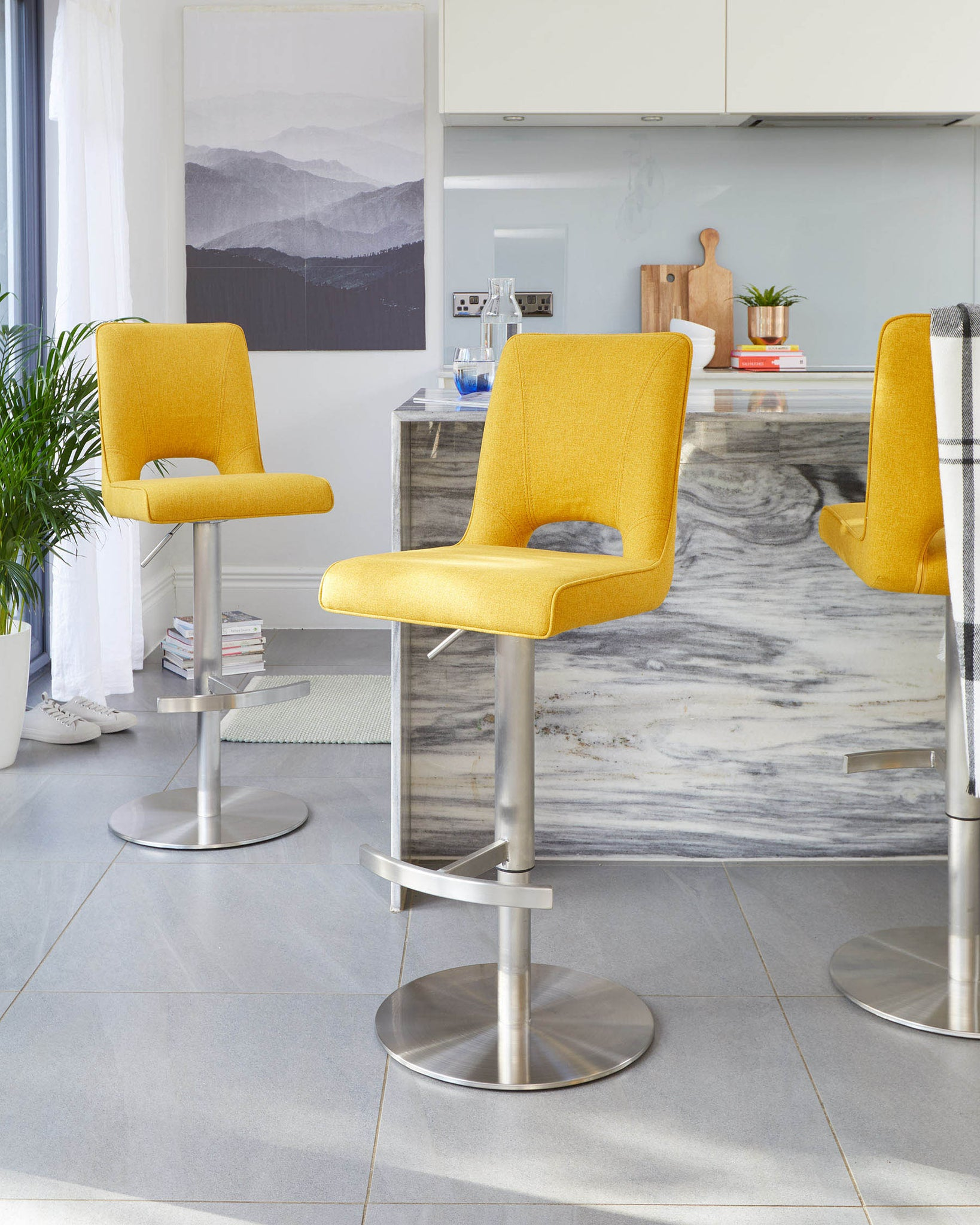 Ludo Yellow Fabric Gas Lift Bar Stool