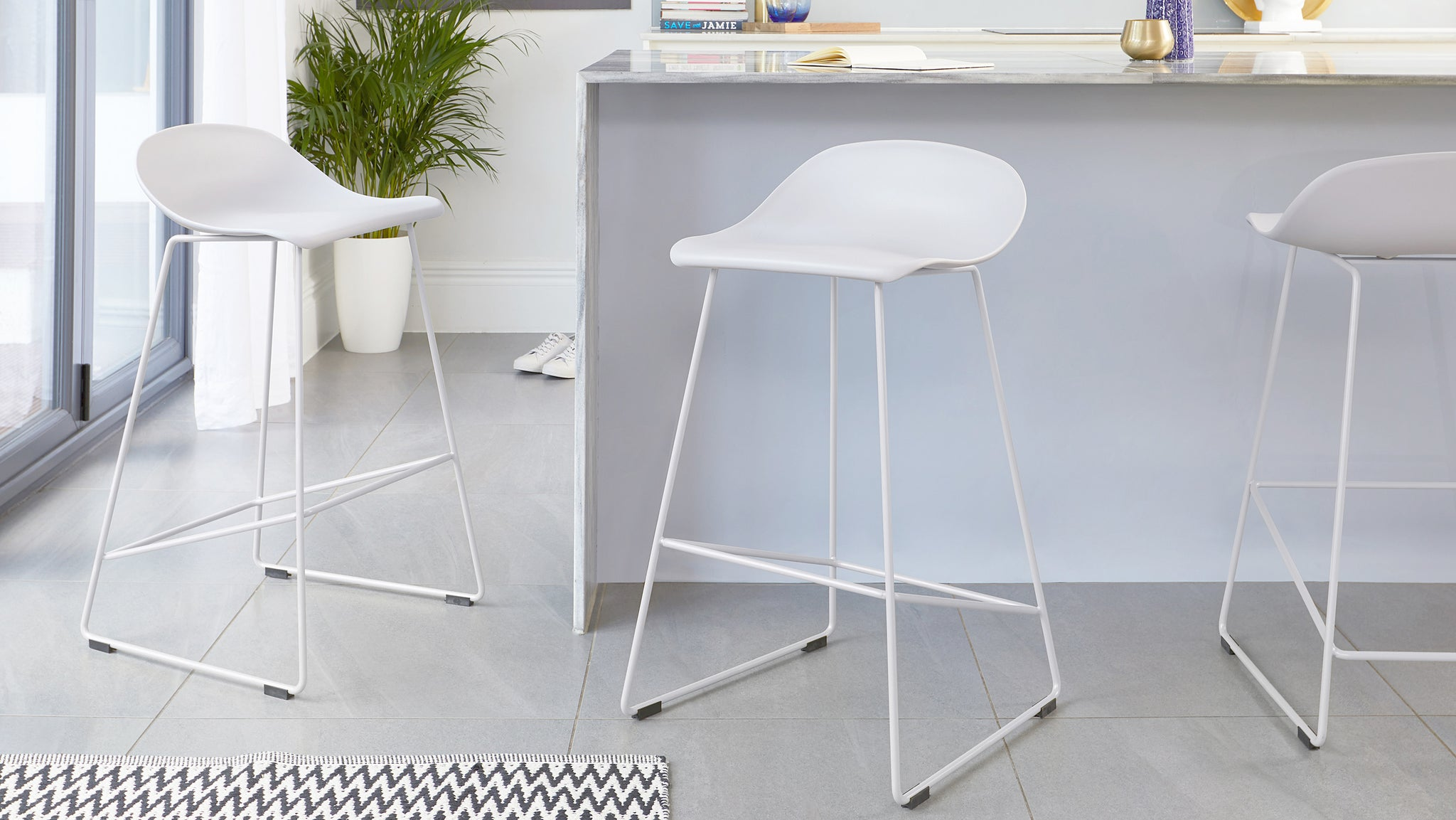 Luna Light Grey Bar Stool - Set Of 2
