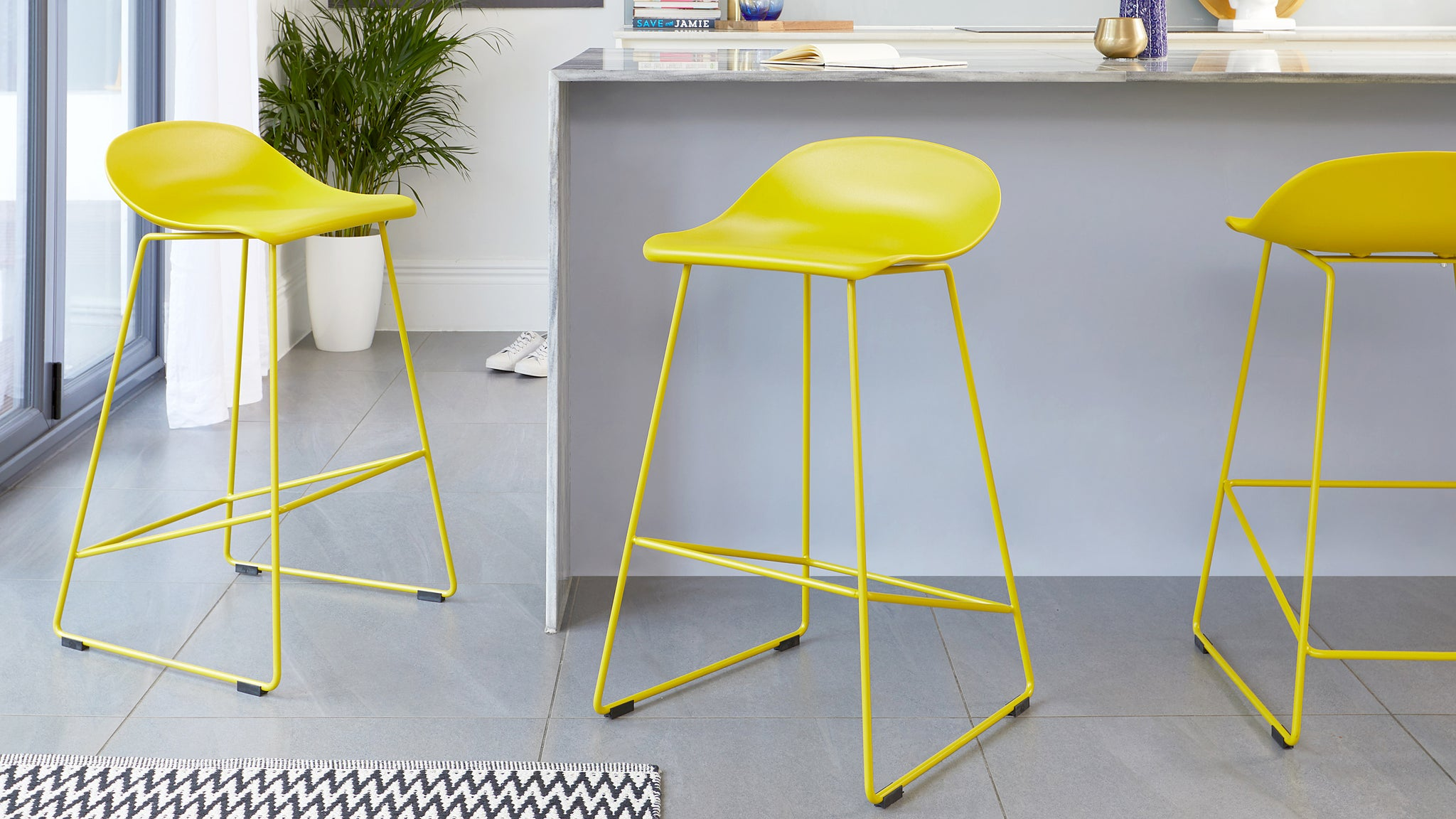 Luna Yellow Bar Stool - Set Of 2