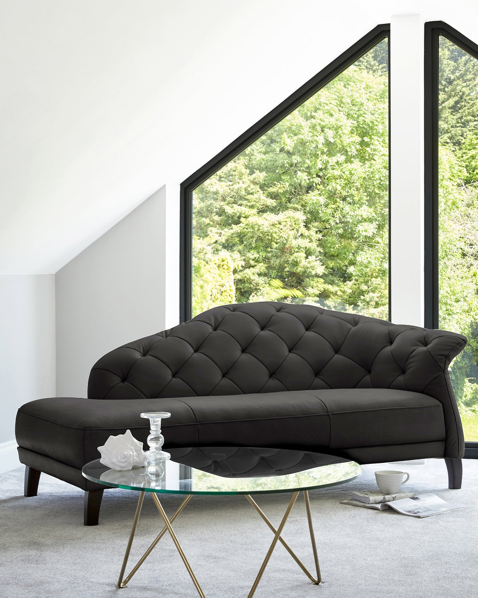 Luxe Modern Black Real Leather With Dark Wood Leg Chaise Lounge Right Handing