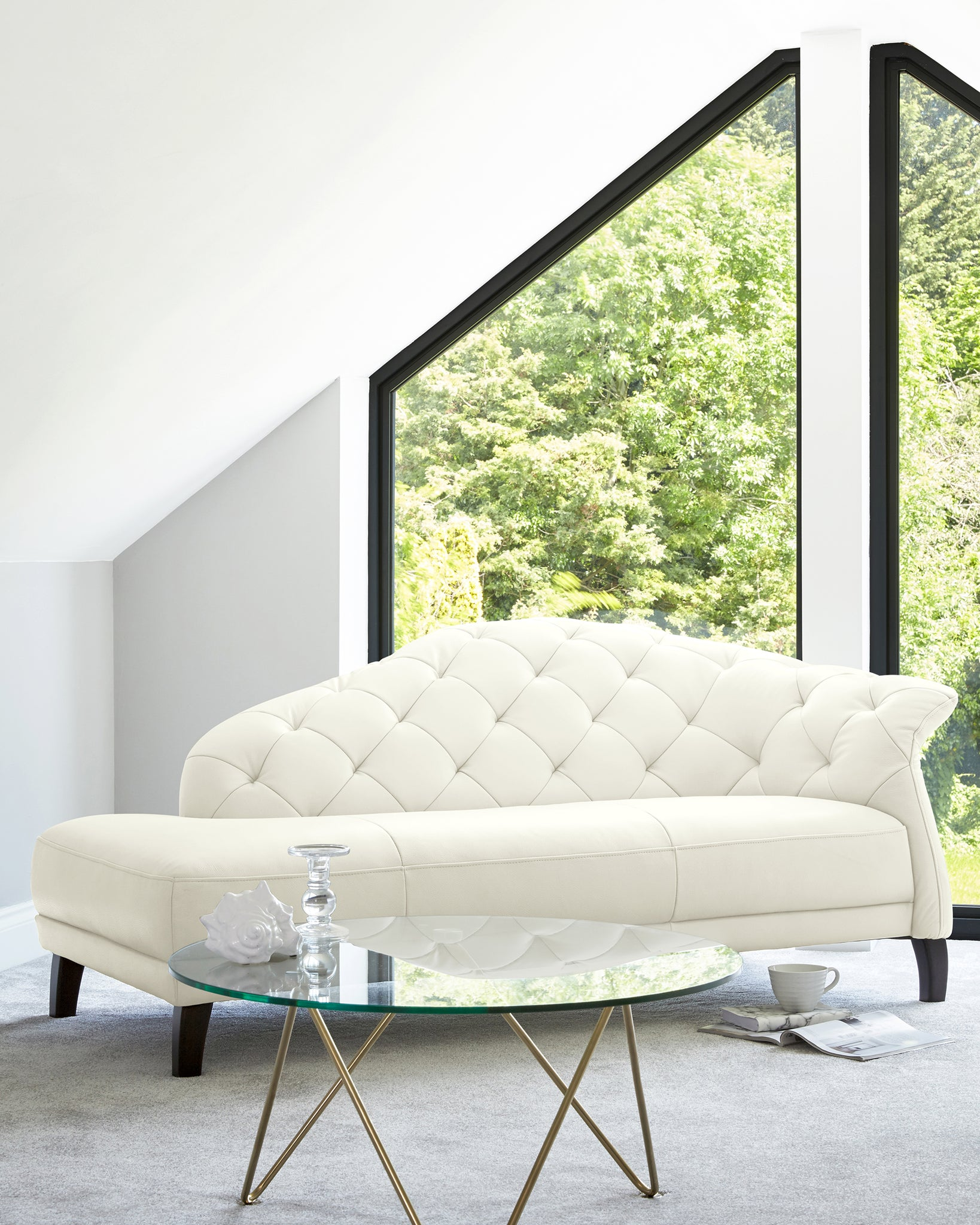 Luxe Modern White Real Leather With Dark Wood Leg Chaise Lounge Right Handing