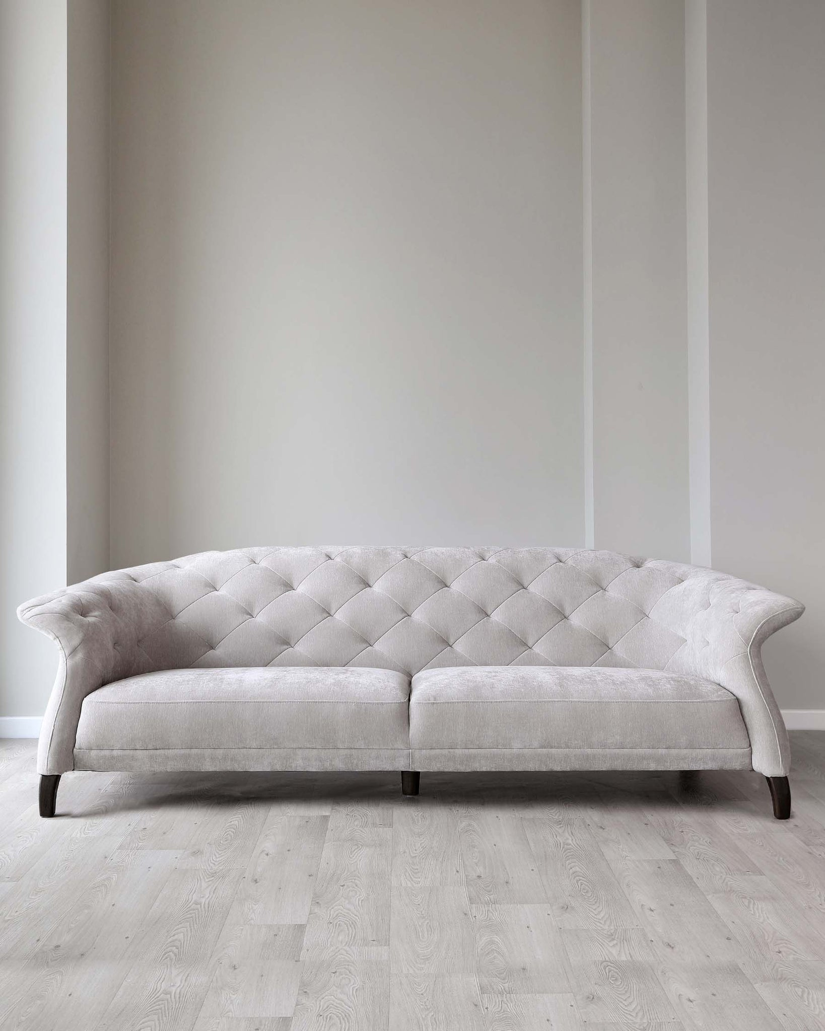 Luxe Modern Large 3 Seater Champagne Fabric Chesterfield Sofa