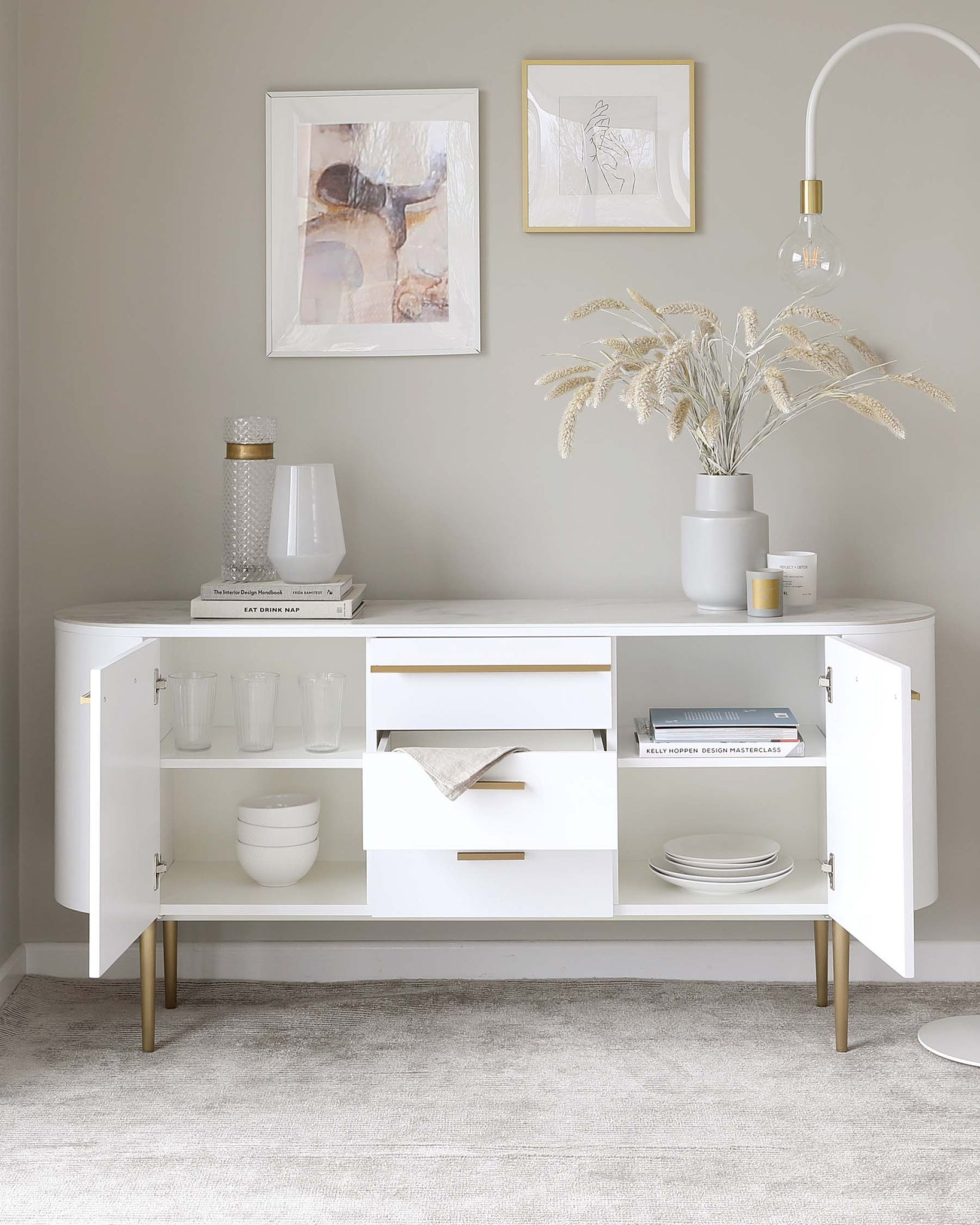 Manhattan White and Marble Large Sideboard