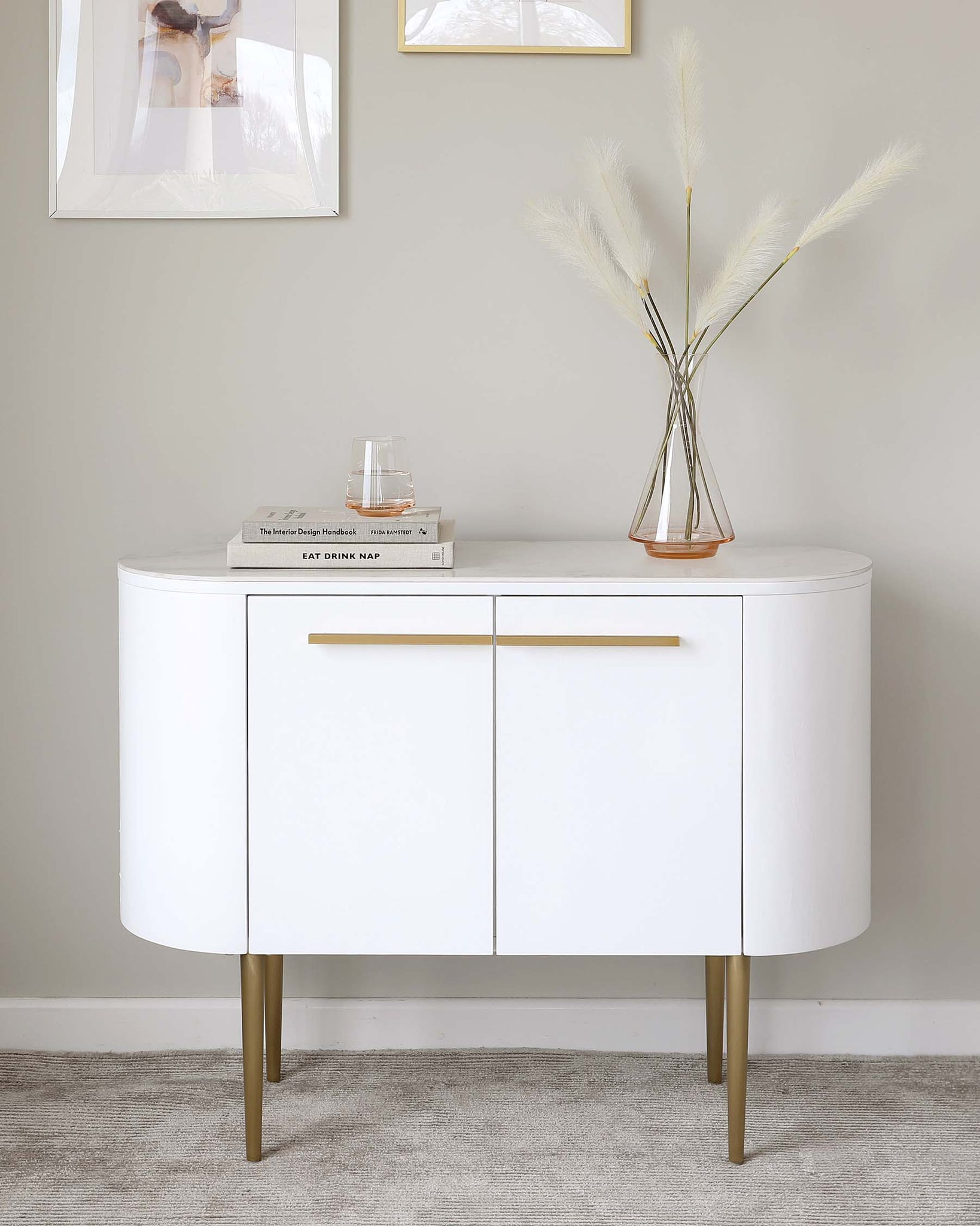 Manhattan White and Marble Small Sideboard