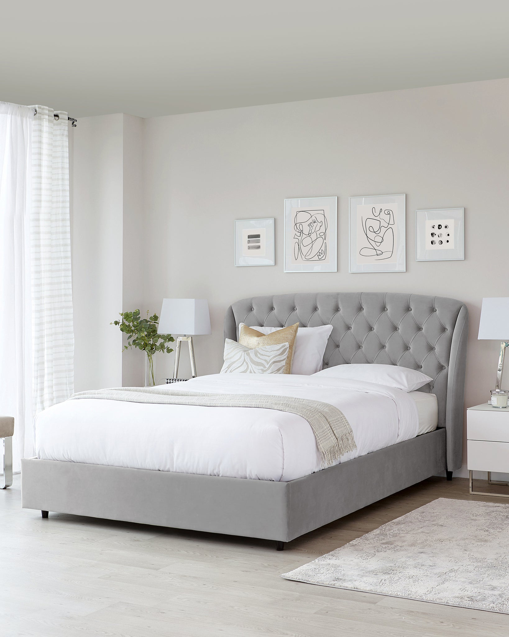Manolo Light Grey Velvet Double Bed With Storage