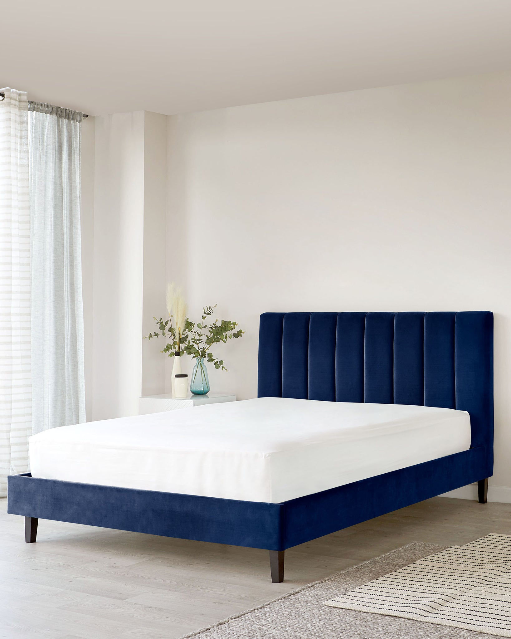 Maya Navy Blue Velvet Double Bed