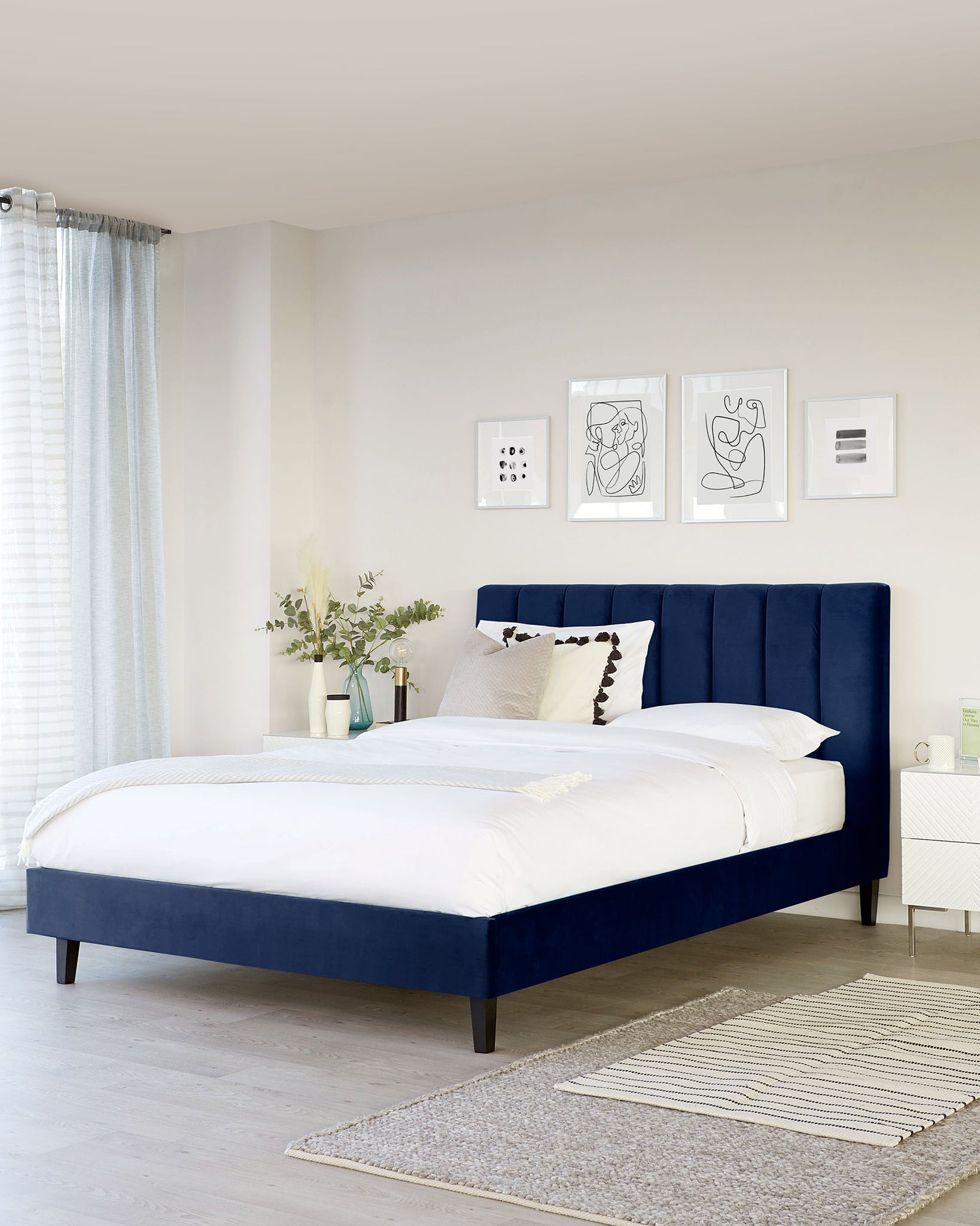 Maya Navy Blue Velvet Super King Bed