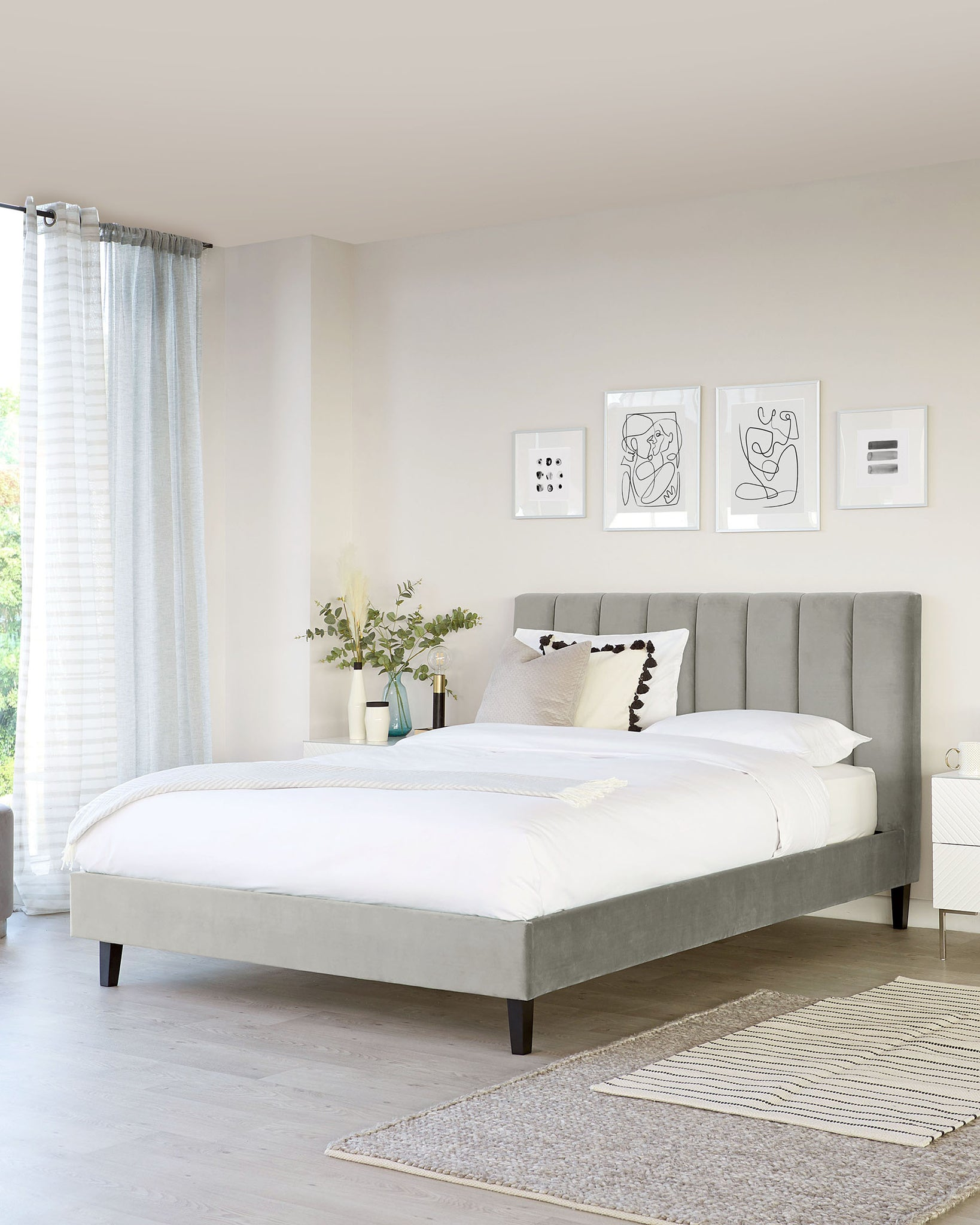Maya Light Grey Velvet Double Bed