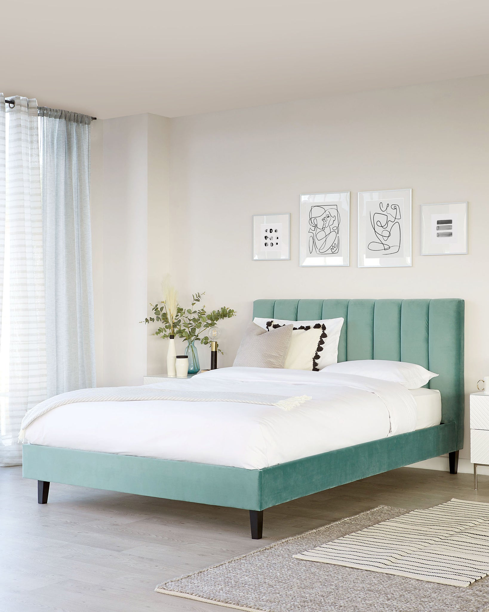 Maya Light Green Velvet Super King Bed