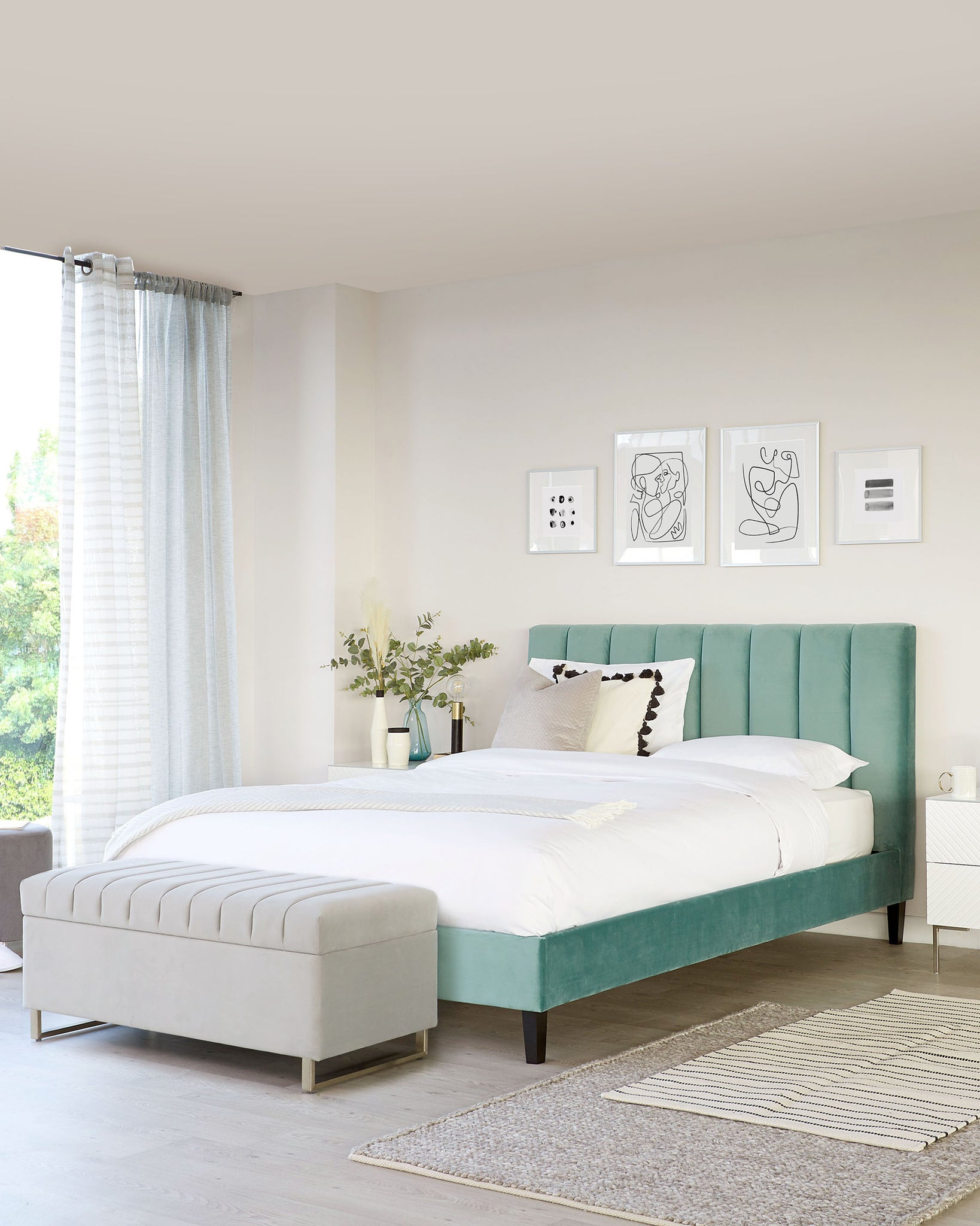 Maya Light Green Velvet Double Bed