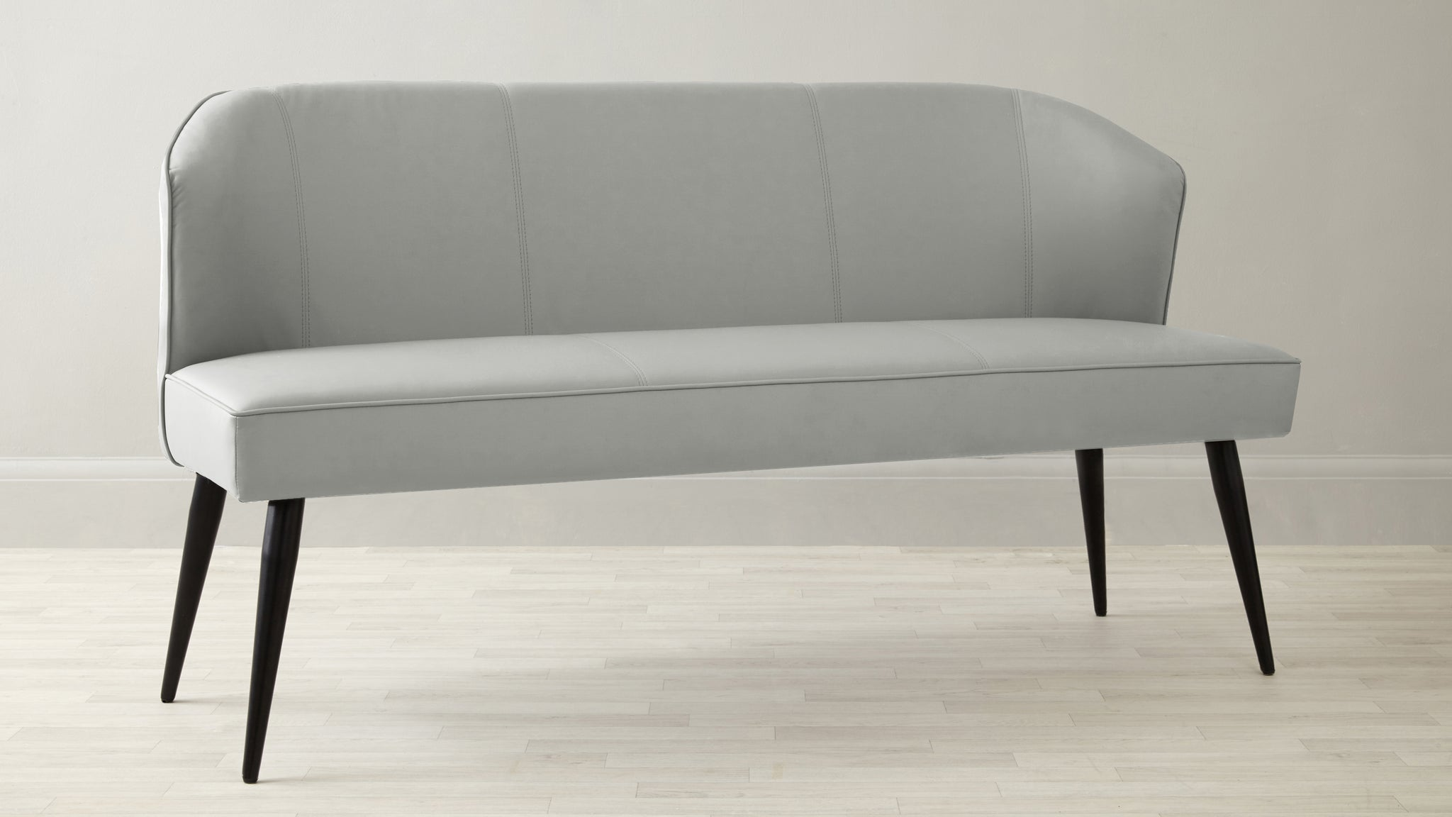 Mellow Light Grey 3 Seater Bench With Backrest