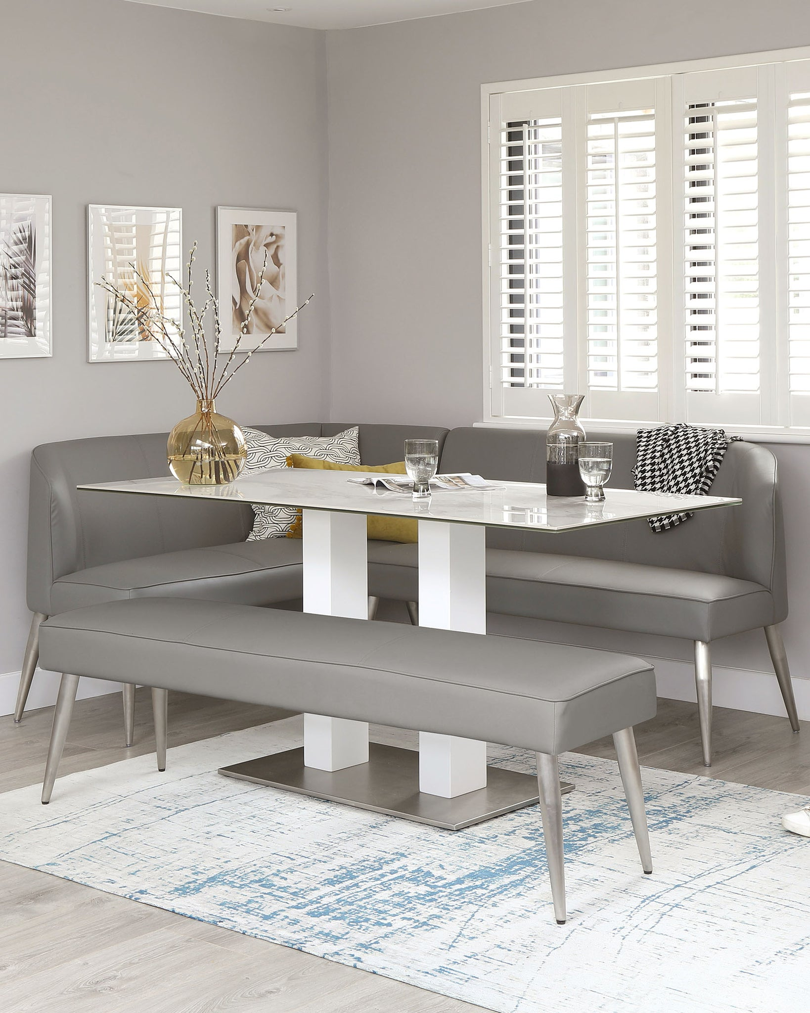 Mellow 5 Seater Mid Grey Faux Leather Brushed Stainless Steel Right Hand Corner Bench