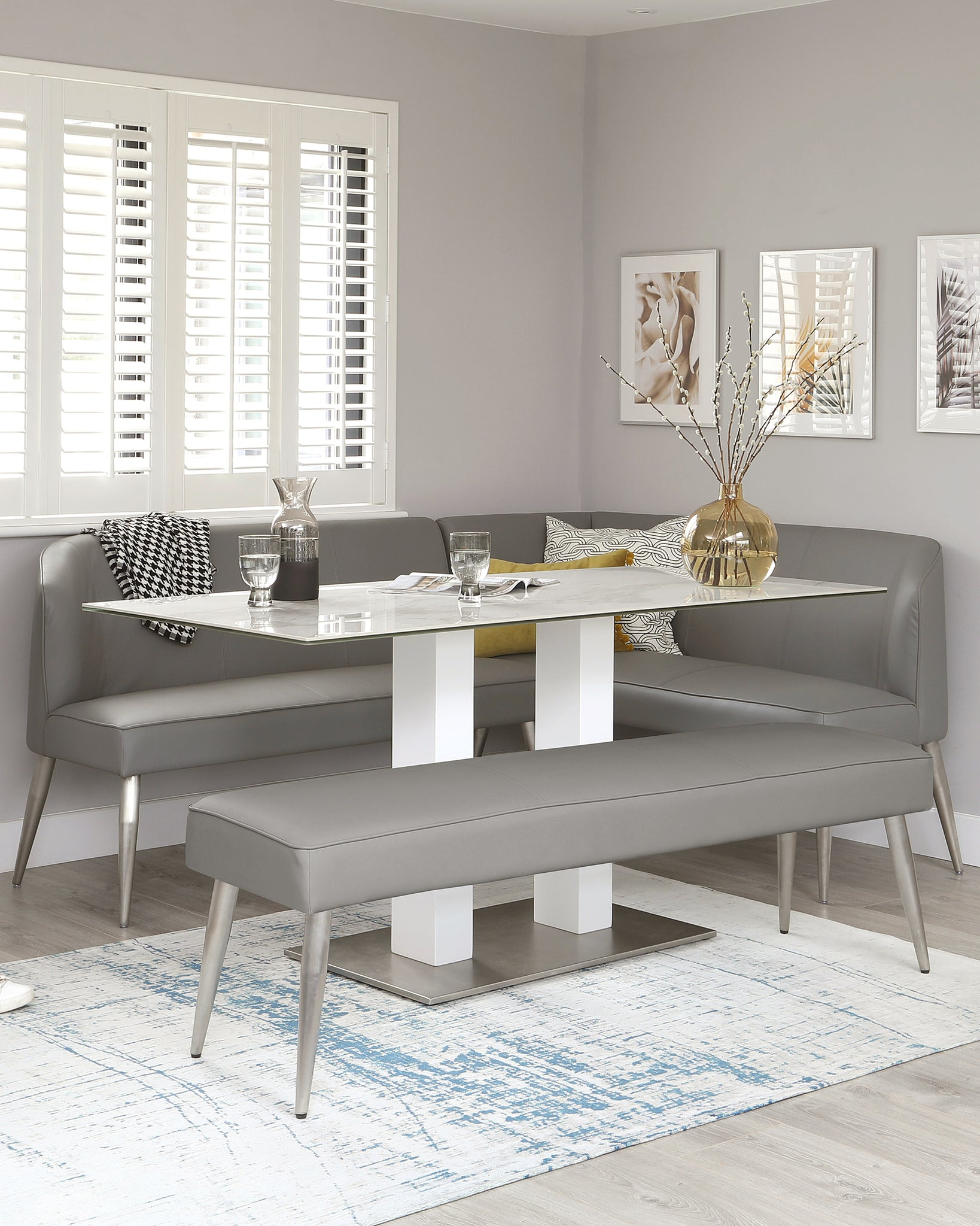 Mellow 5 Seater Mid Grey Faux Leather And Stainless Steel Left Hand Corner Bench