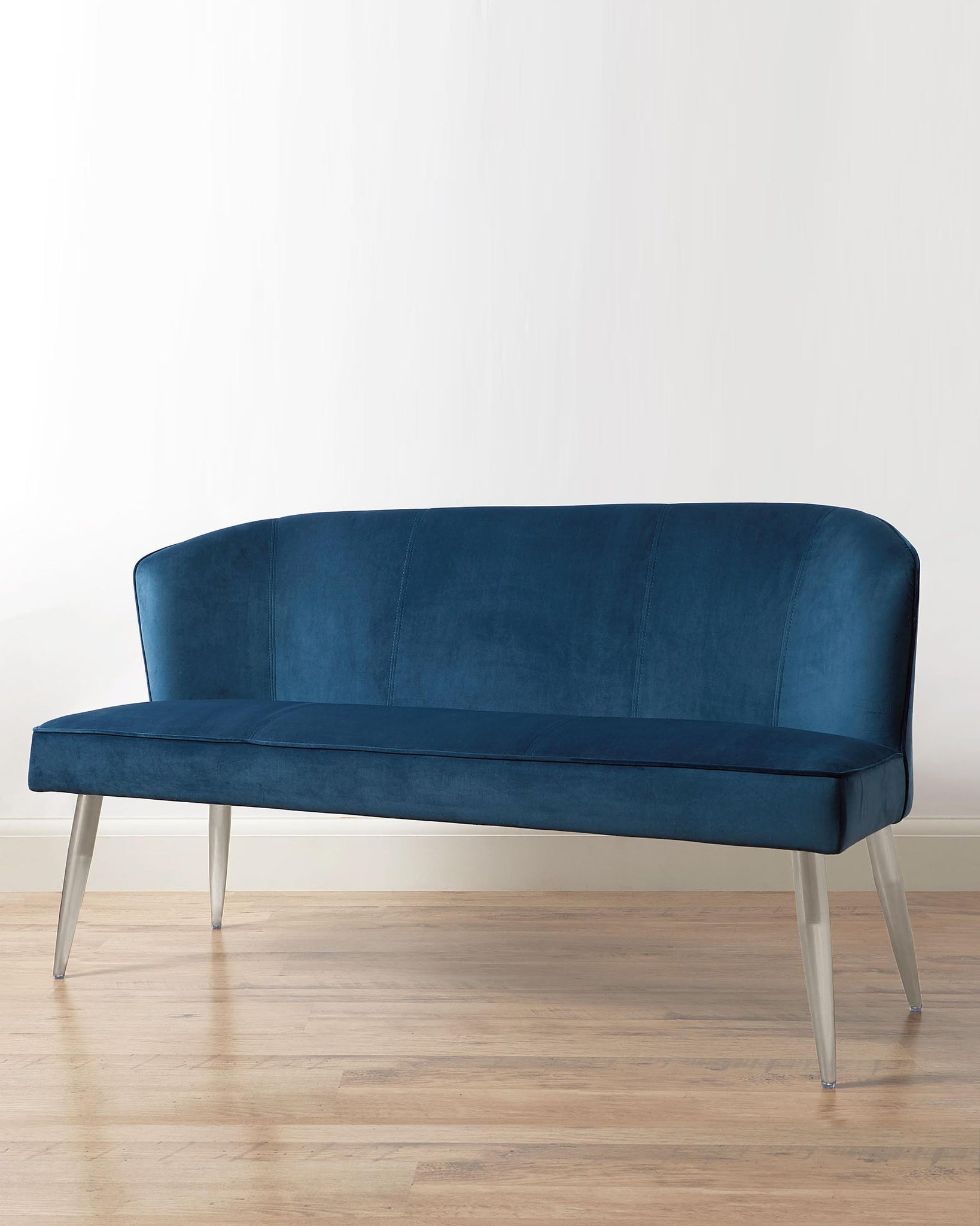 Mellow Dark Blue Velvet 3 Seater Bench With Backrest